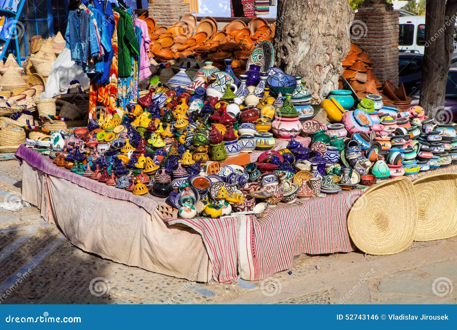 Ceramiczny przód sklep, Chefchaouen, Maroko