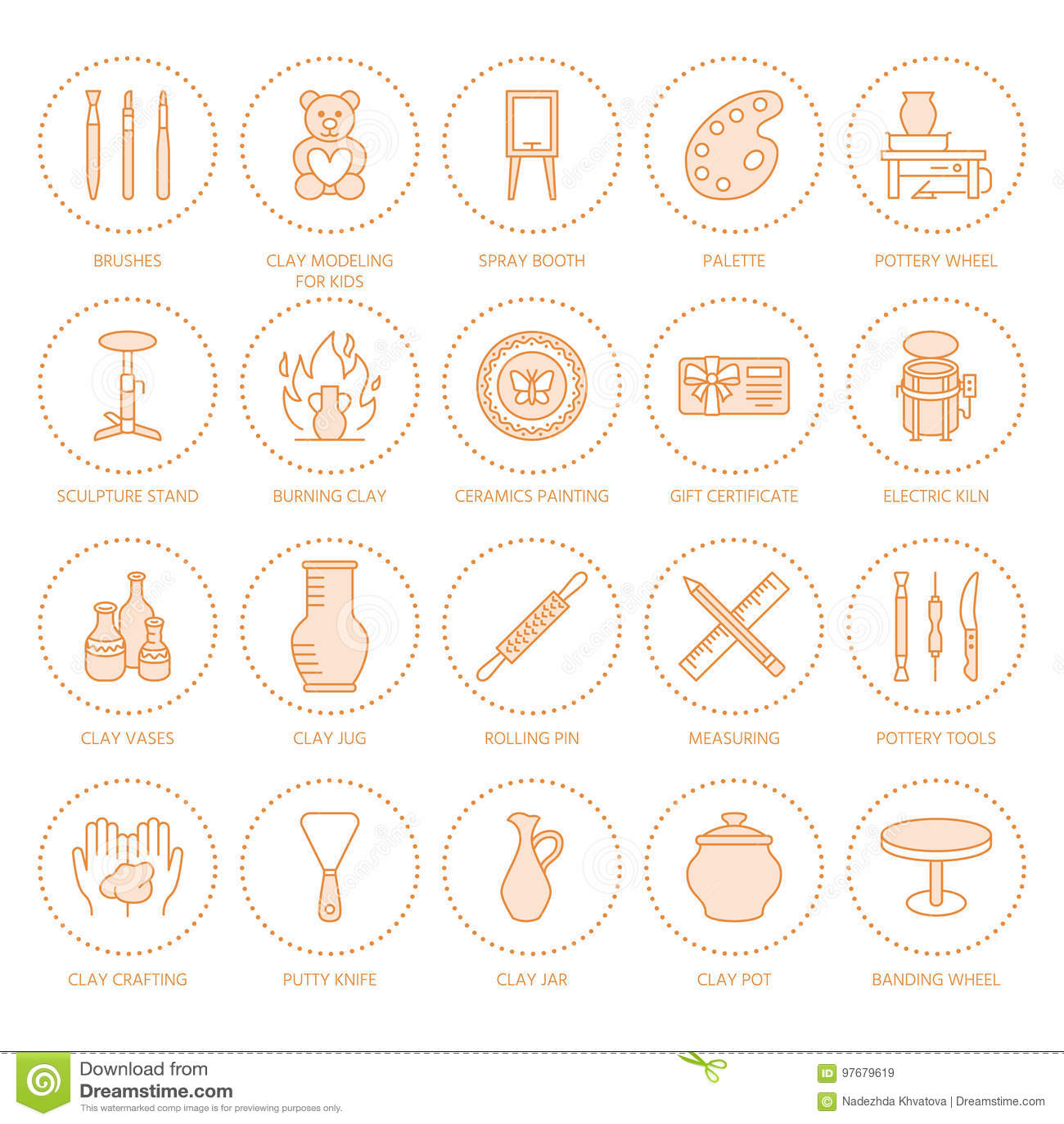 Ceramiczny warsztat, ceramics klas kreskowe ikony Gliniani studiów narzędzi znaki Ręka budynek, rzeźbotwórczy wyposażenie - garnc