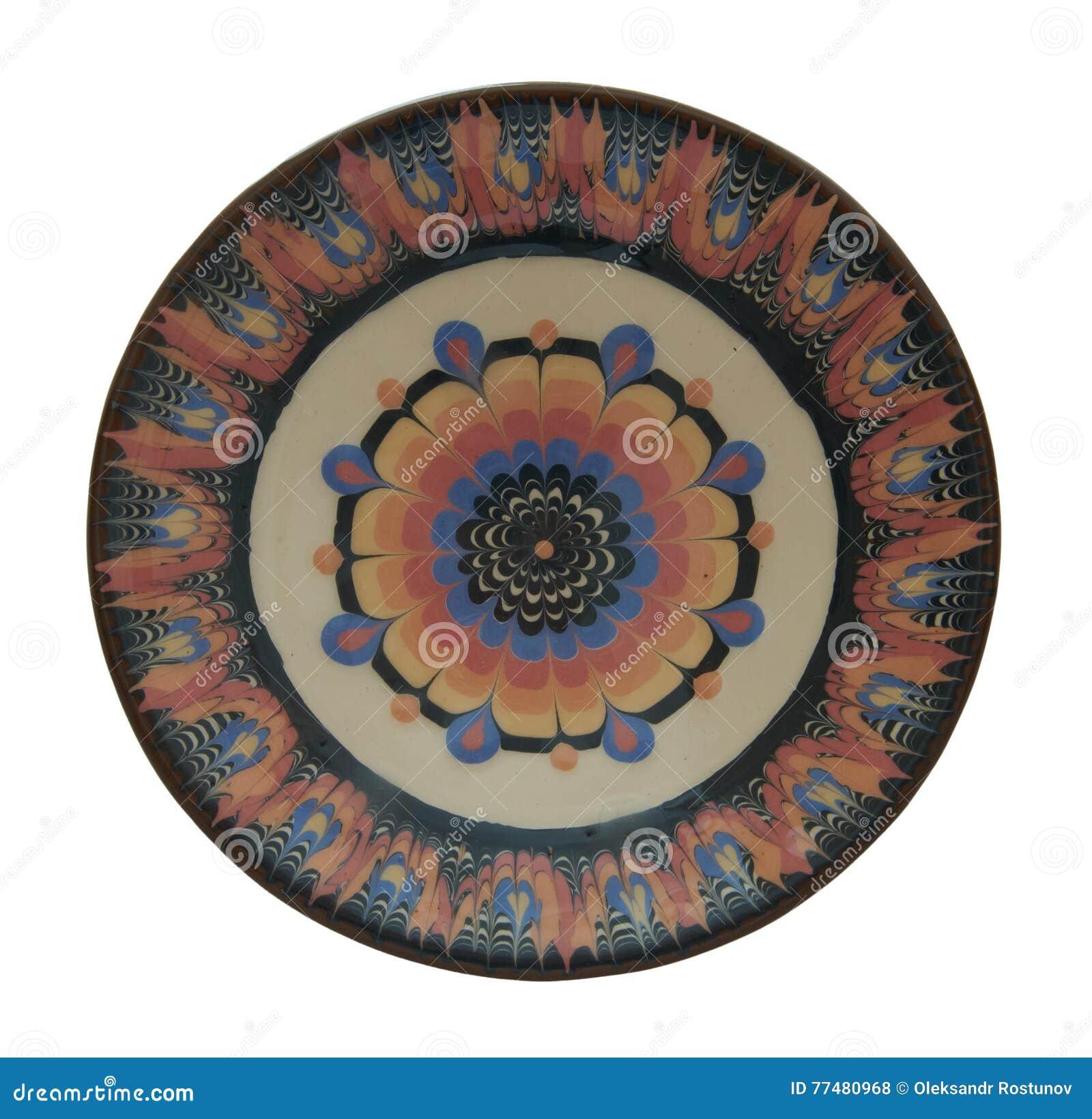 Ceramische die plaat in de technologie van Vlaanderen wordt geschilderd Geïsoleerd op whit