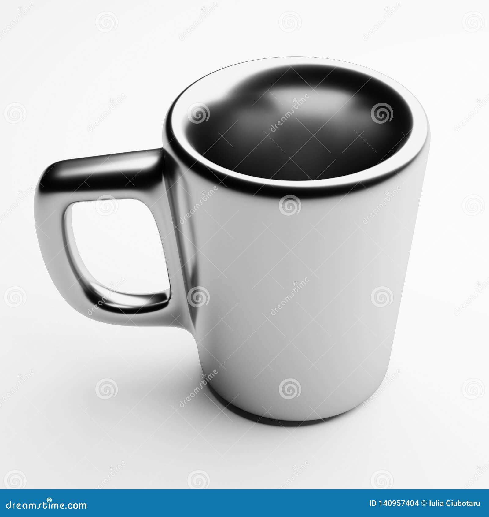 Ceramische Mok met Zilveren Deklaag, het 3d teruggeven, Koffiekop