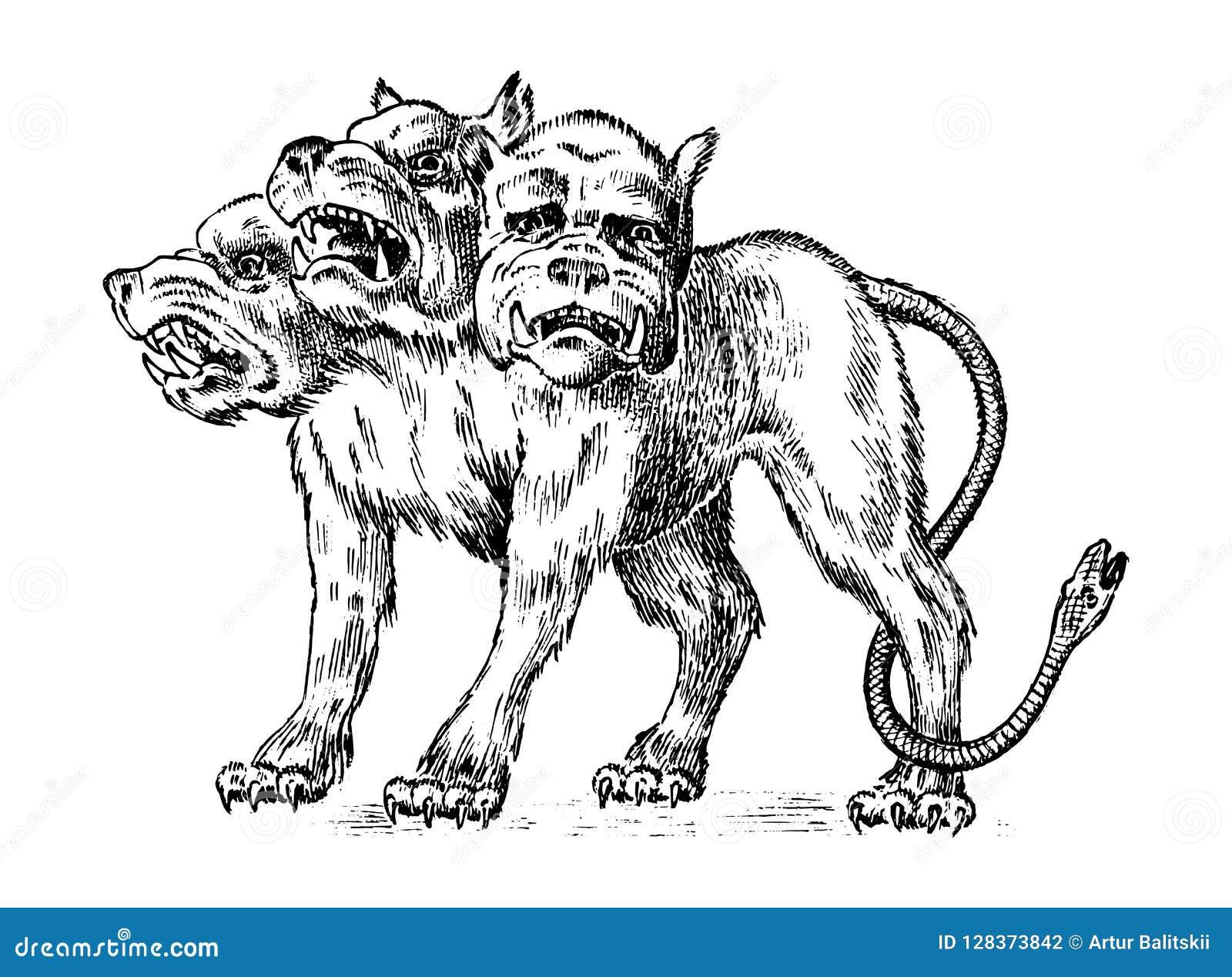 Cerberus三朝向狗 神话希腊古色古香的妖怪 神话动物 在老葡萄酒的意想不到的生物