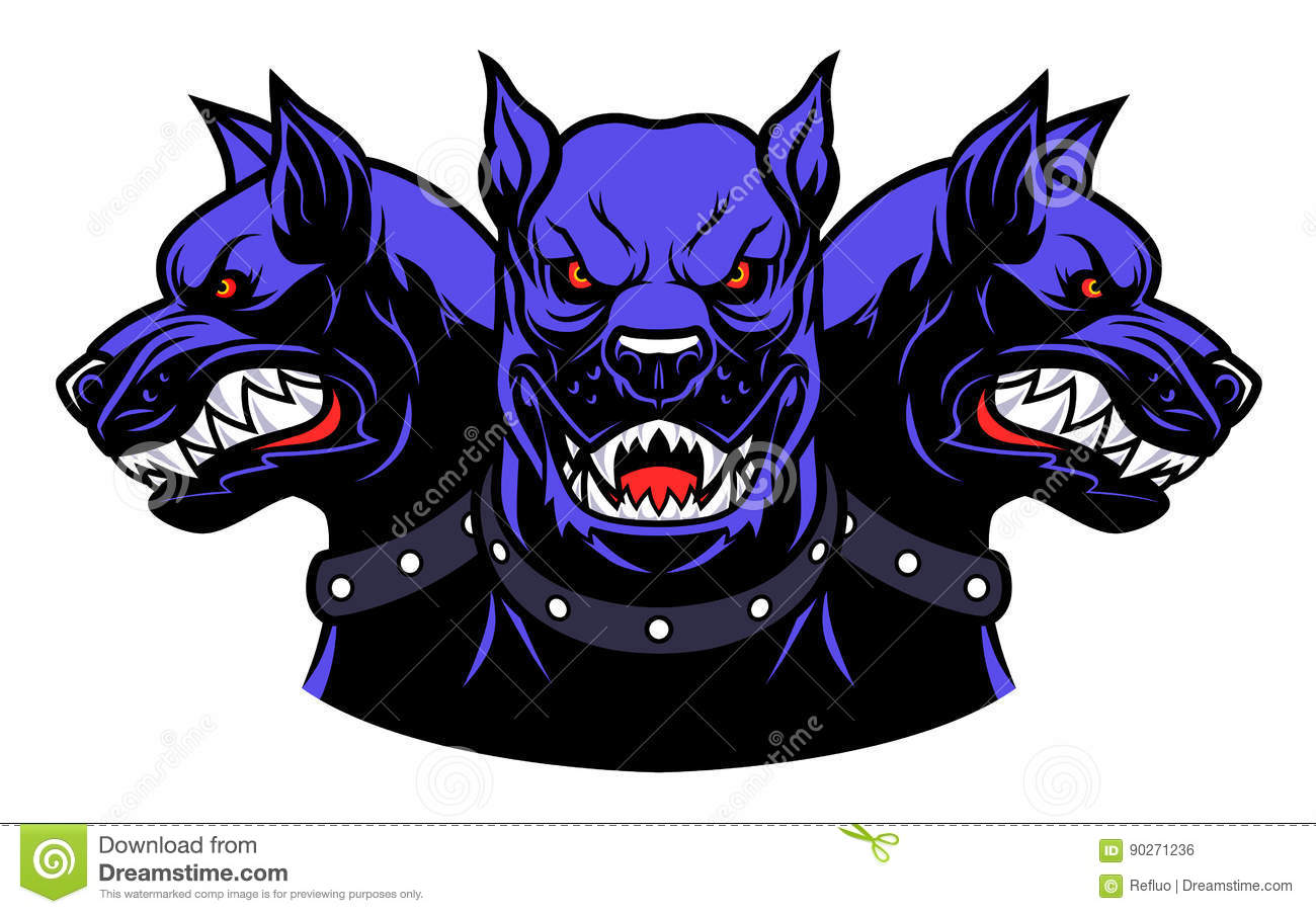 Cerberus heads stock vector. Illustration of angry, myth ... Growling Dog Drawing