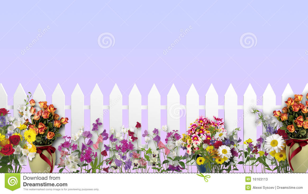 cerca para jardim branca : cerca para jardim branca:White Fence with Flowers