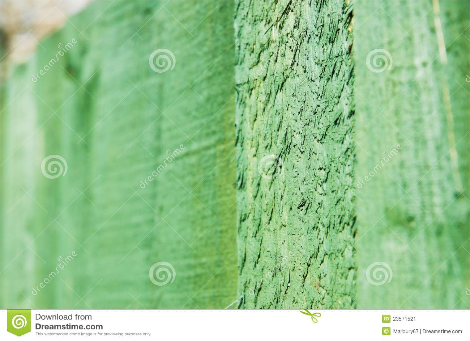 Cerca de madeira do jardim com detalhe de madeira verde do conservante
