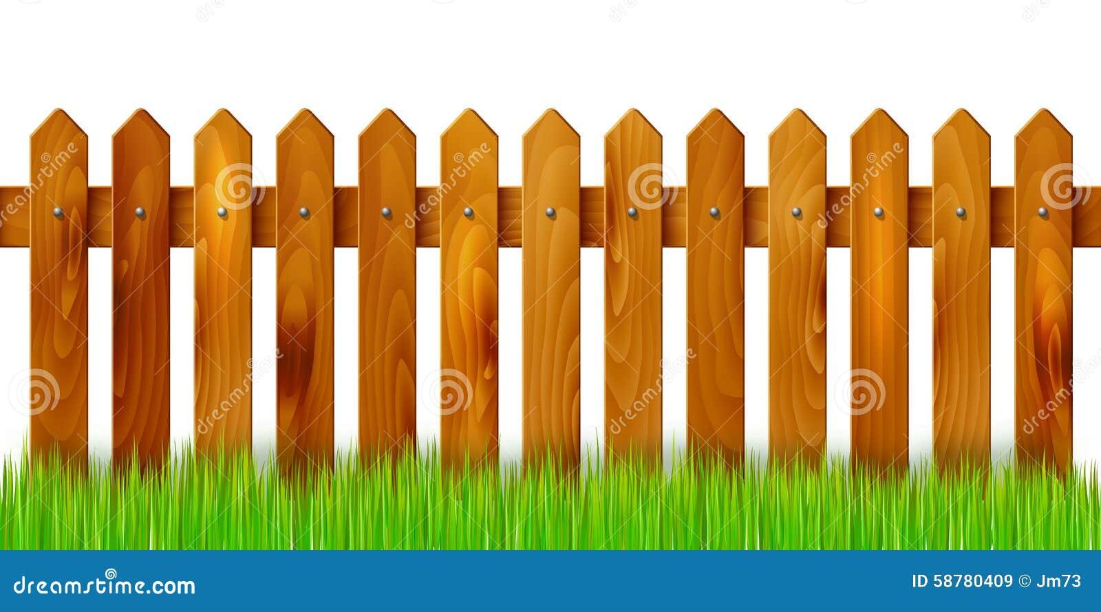 Cerca de madera e hierba aisladas en el fondo blanco for Cerco illustratore