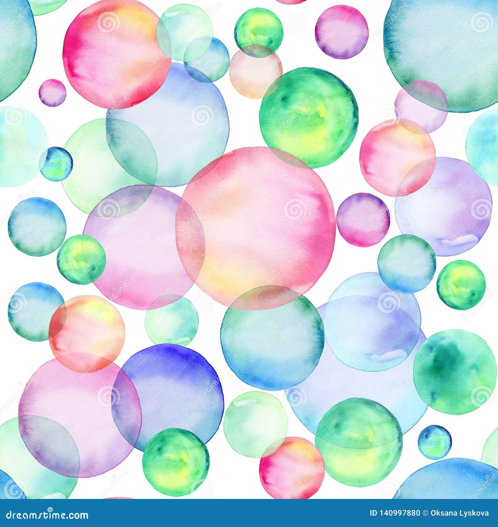 Cerchi colorati dell acquerello Reticolo senza giunte Bolle dell arcobaleno Fronte delle donne disegnate a mano di illustration