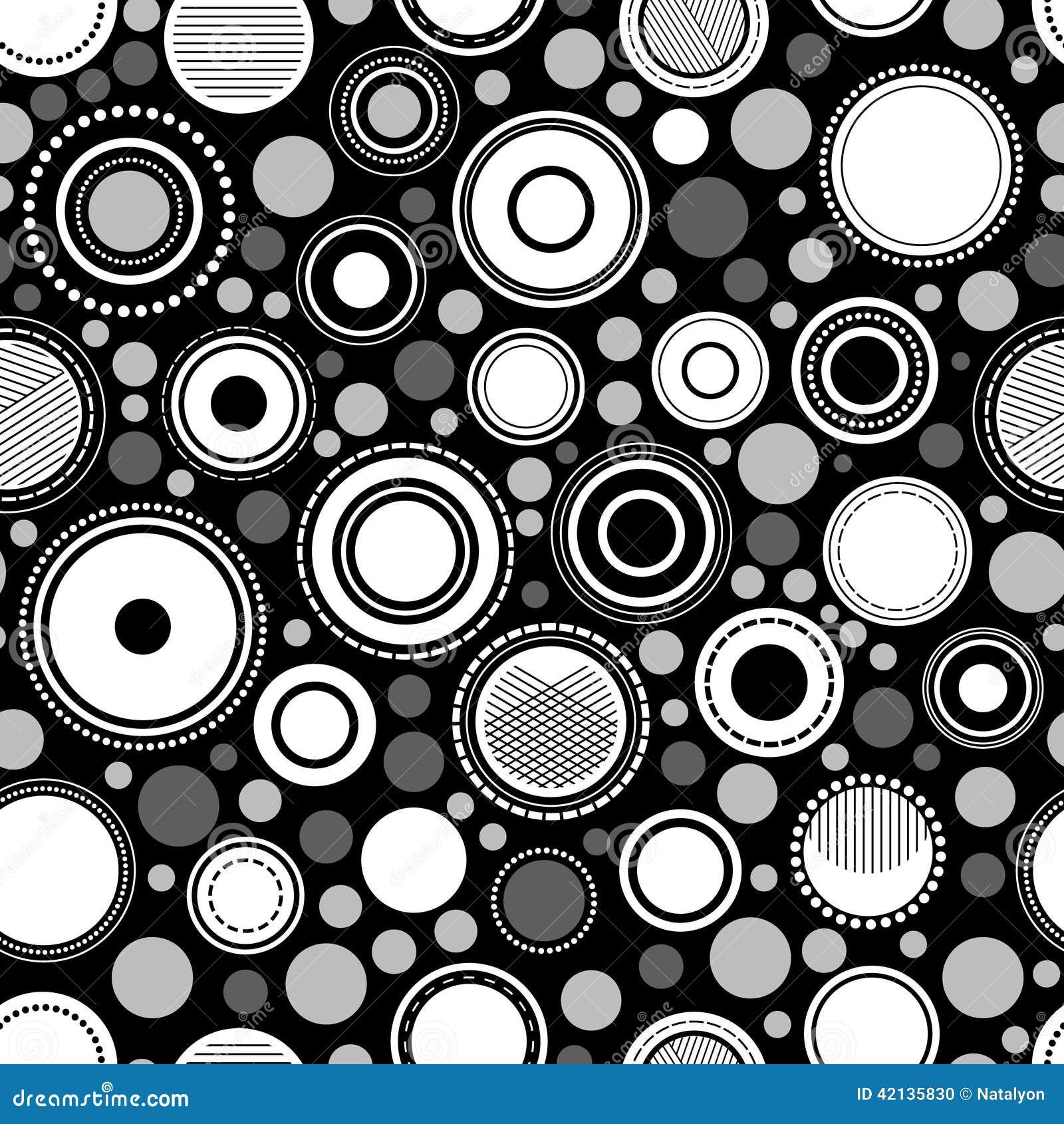 Cerchi geometrici astratti in bianco e nero modello senza cuciture, vettore