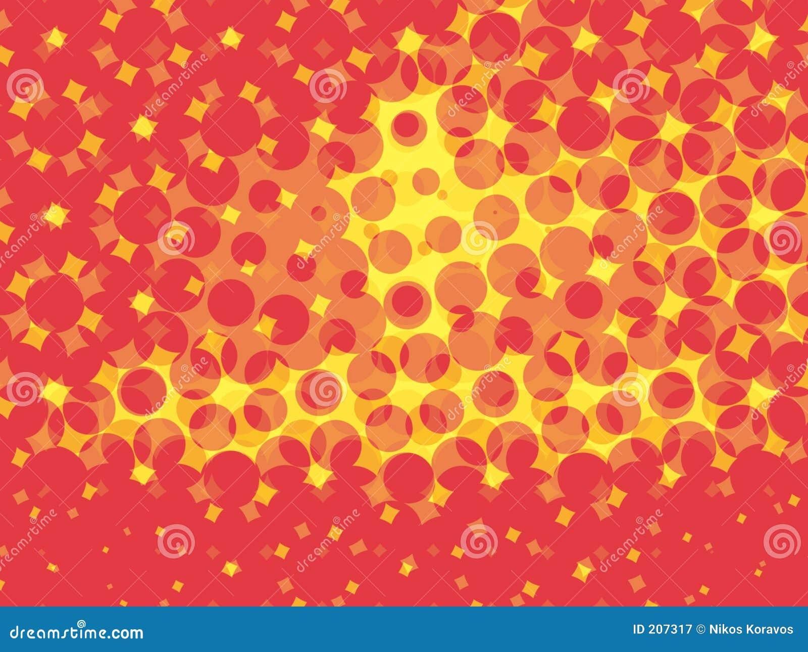 Cerchi rossi e frattali gialli