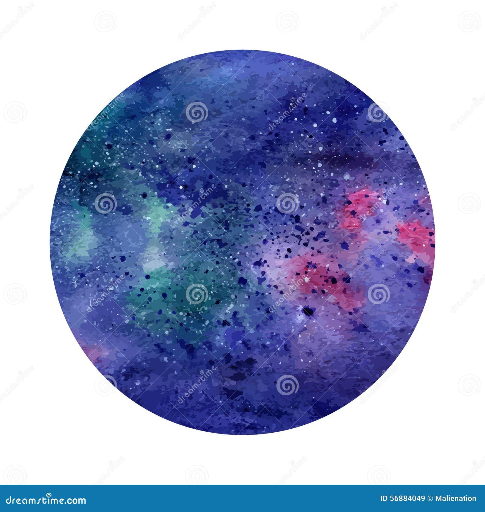 Cerchio astratto dello spazio dell acquerello Priorità bassa cosmica Può essere usato per le cartoline d auguri, le insegne, logo