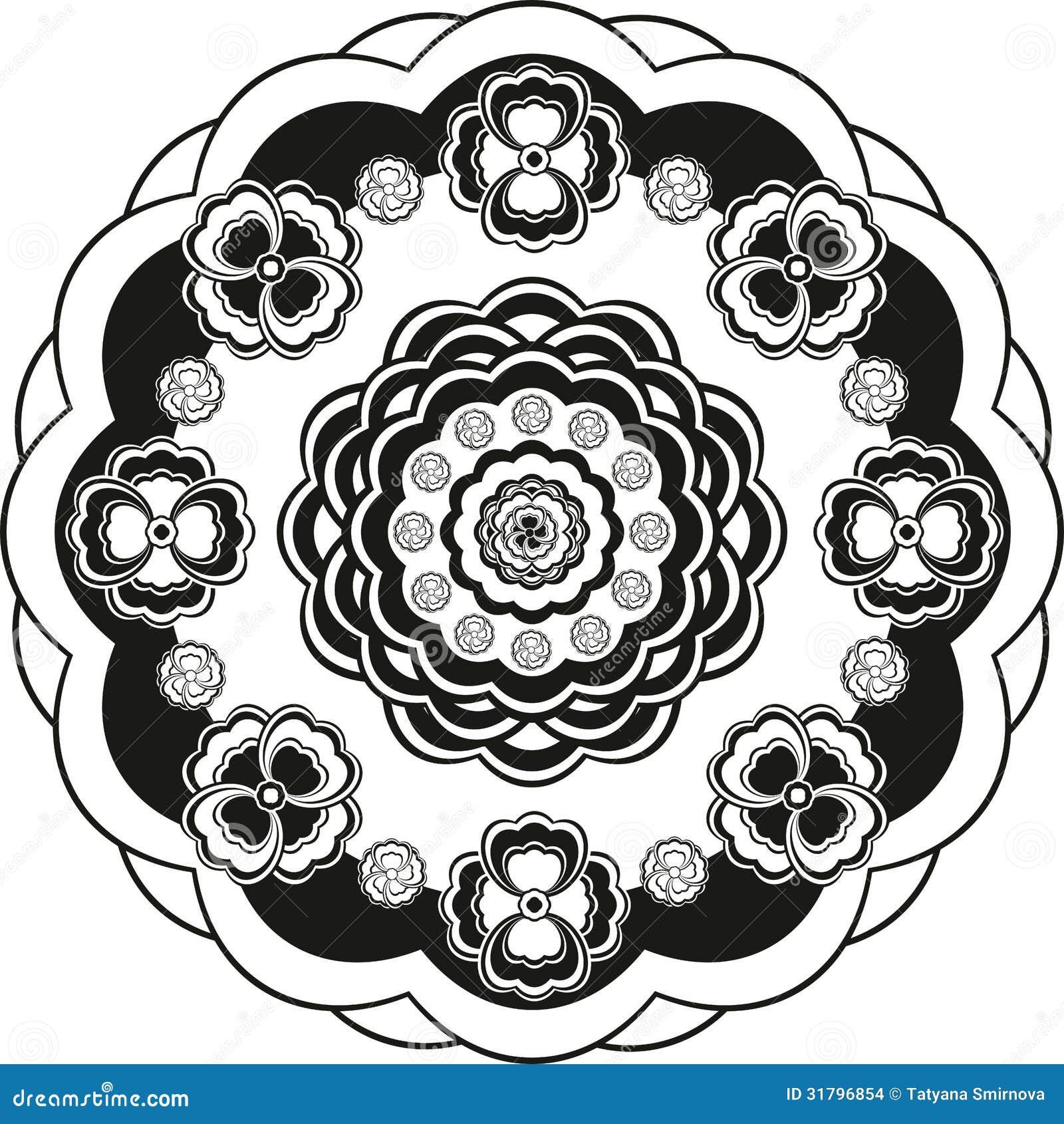Cerchio del modello di fiore in bianco e nero - Modello di base del fiore ...