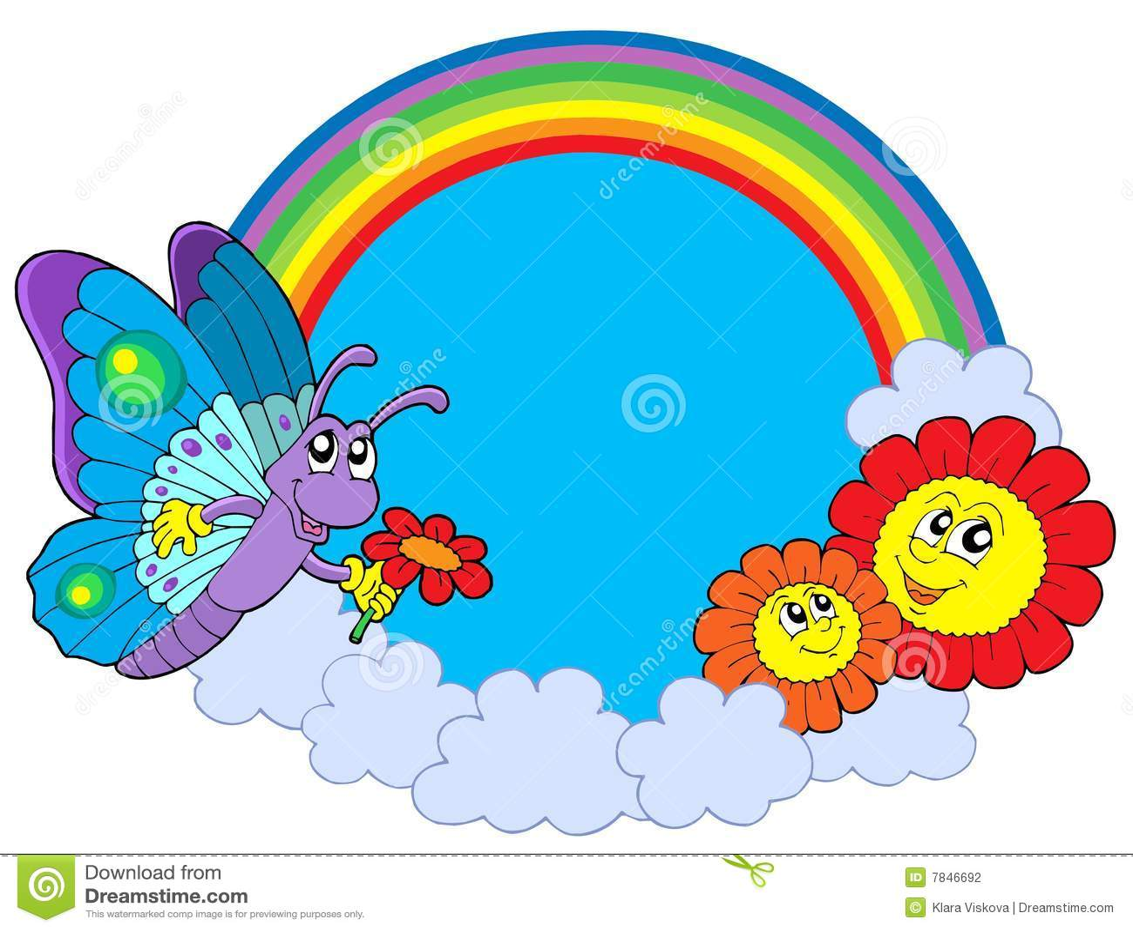 Cerchio del rainbow con la farfalla ed i fiori for Fiori con la p