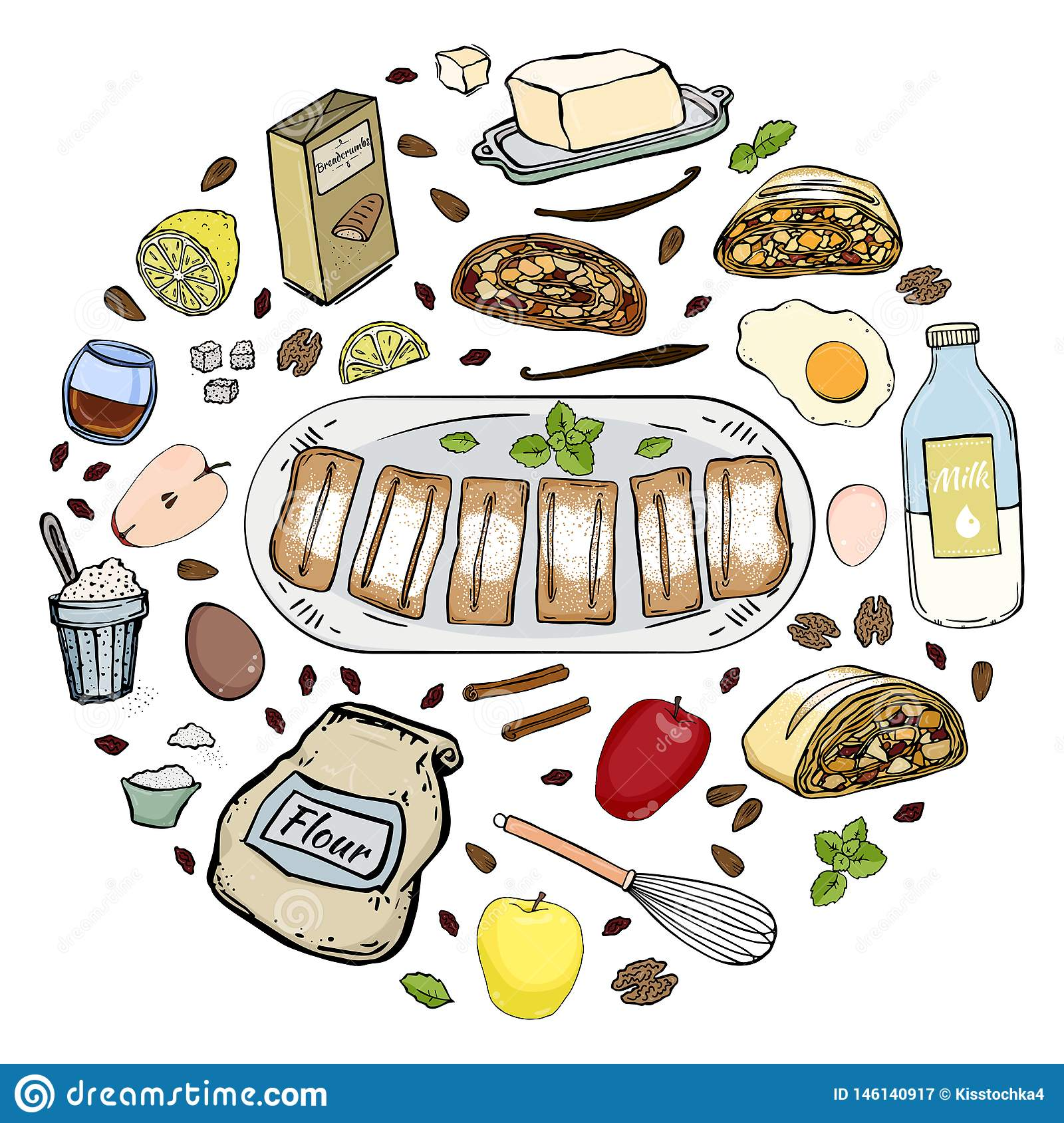 Cerchio di ricetta dello strudel