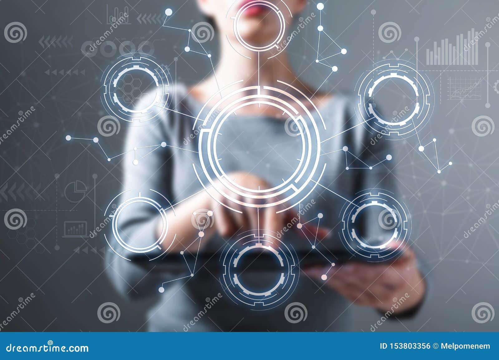 Cerchio di tecnologia con la donna che per mezzo di una compressa