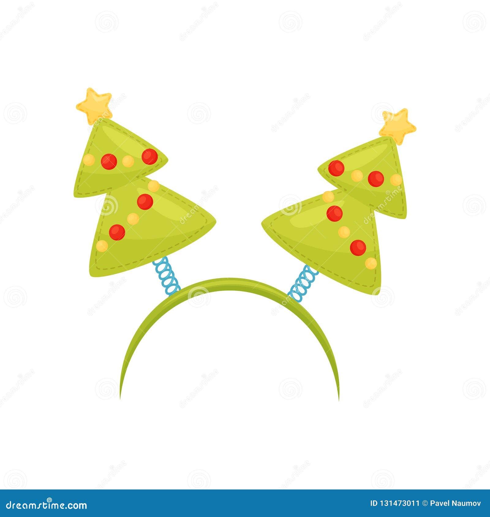 Cerchio festivo dei capelli con gli alberi di Natale Accessorio di festa per il partito Fascia di festa Progettazione piana di ve