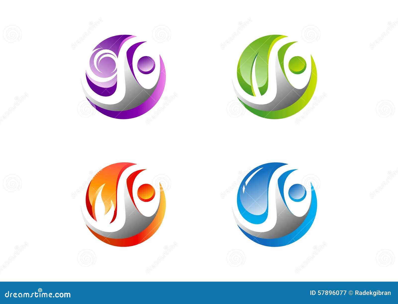 Cerchio, la gente, acqua, vento, fiamma, foglia, logo, un insieme di progettazione di vettore di simbolo dell icona dell elemento