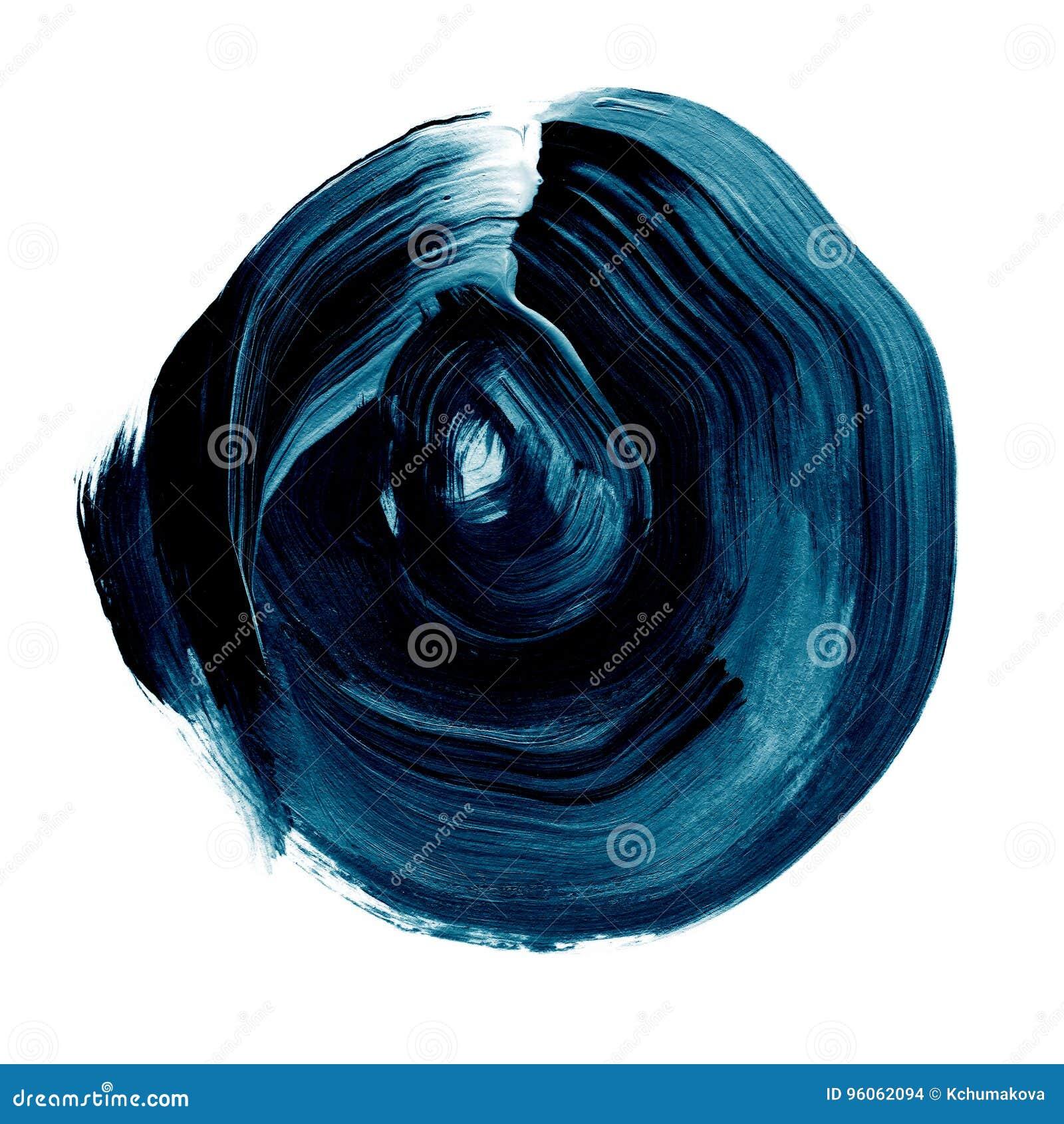 Cercle acrylique texturisé de noir bleu Tache pour aquarelle sur le fond blanc