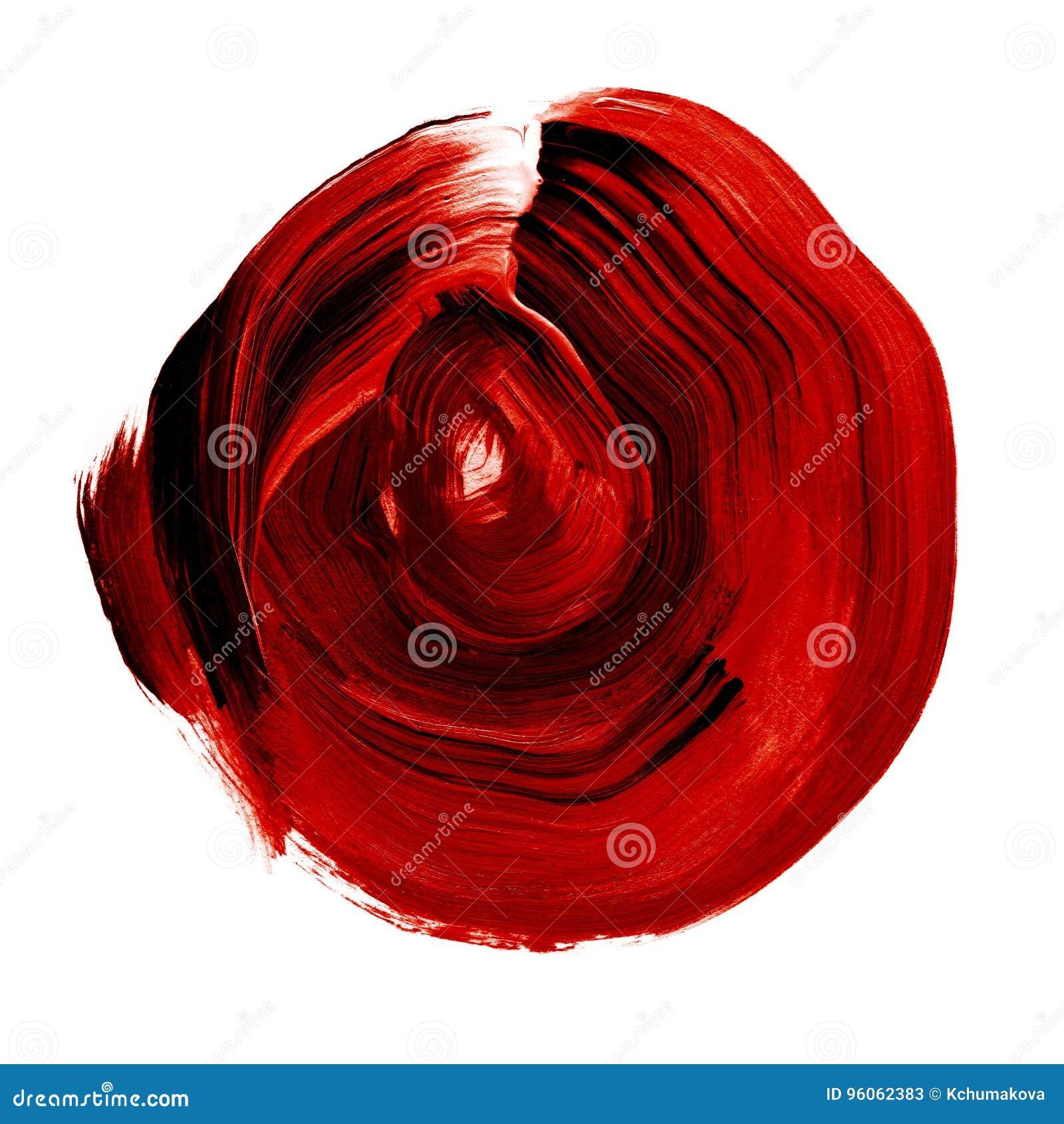 Cercle acrylique texturisé de rose rouge de noir Tache pour aquarelle sur le fond blanc