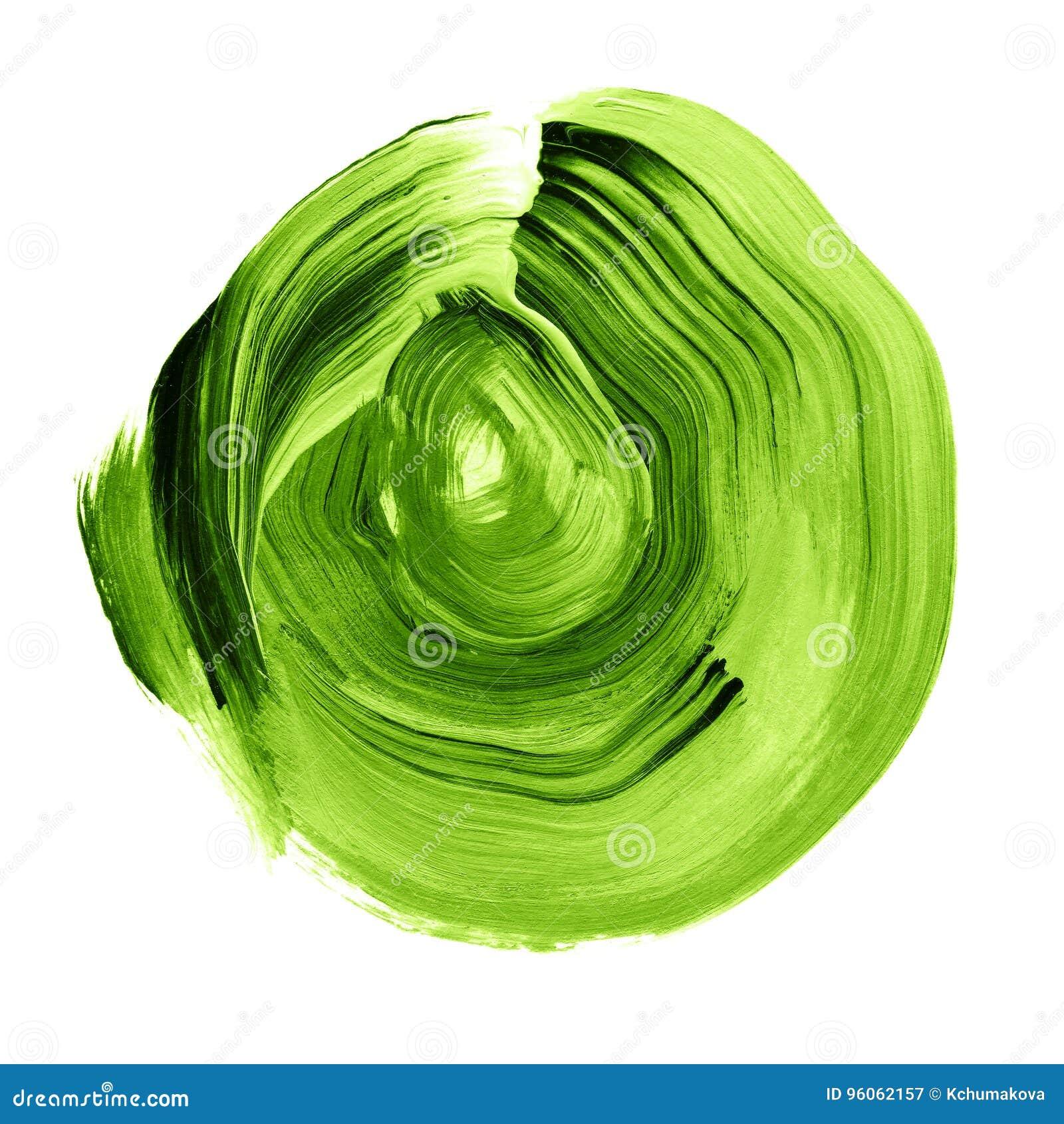 Cercle acrylique texturisé de verdure verte Tache pour aquarelle sur le fond blanc