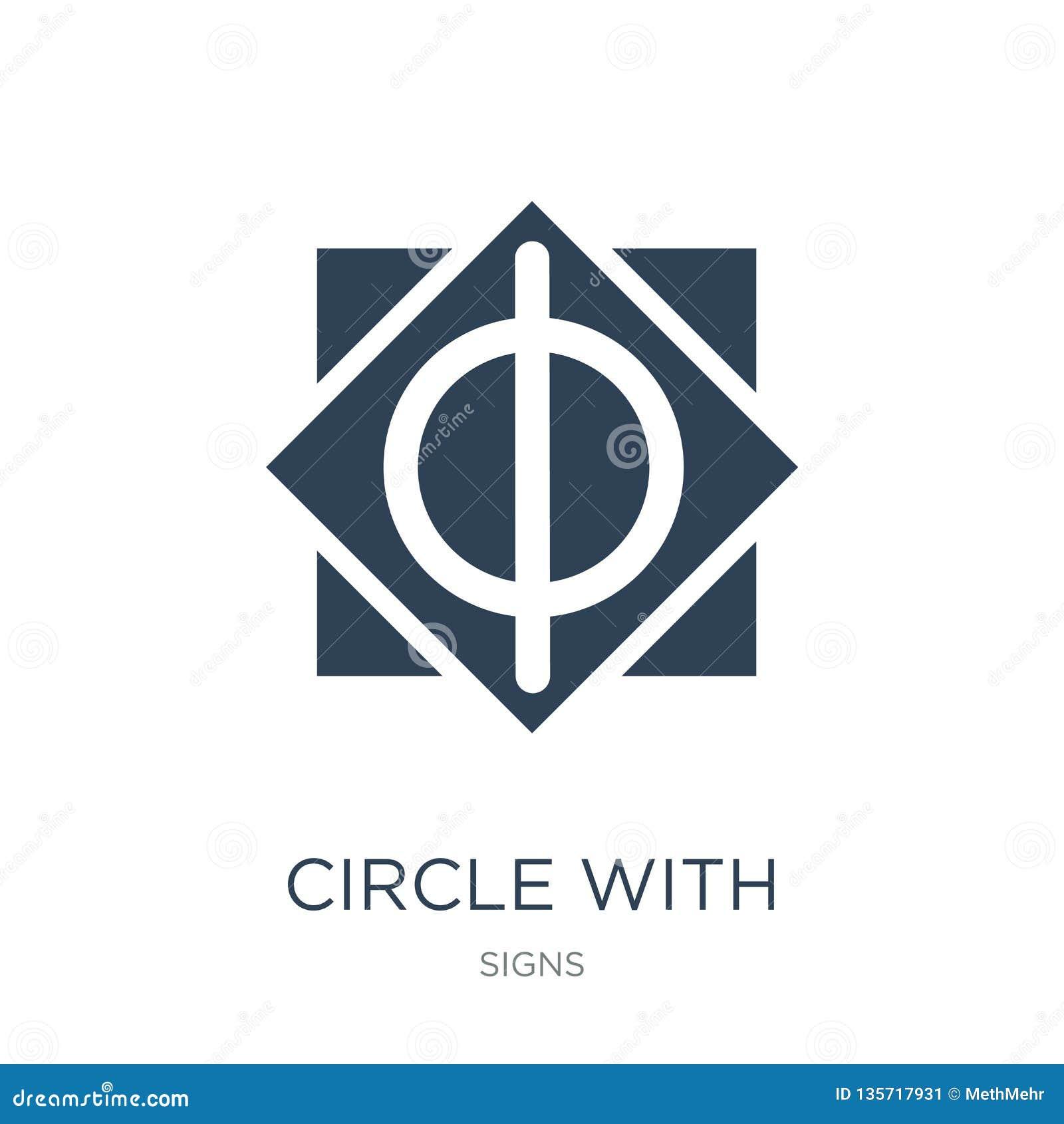 Cercle avec la ligne verticale icône dans le style à la mode de conception cercle avec la ligne verticale icône d isolement sur l