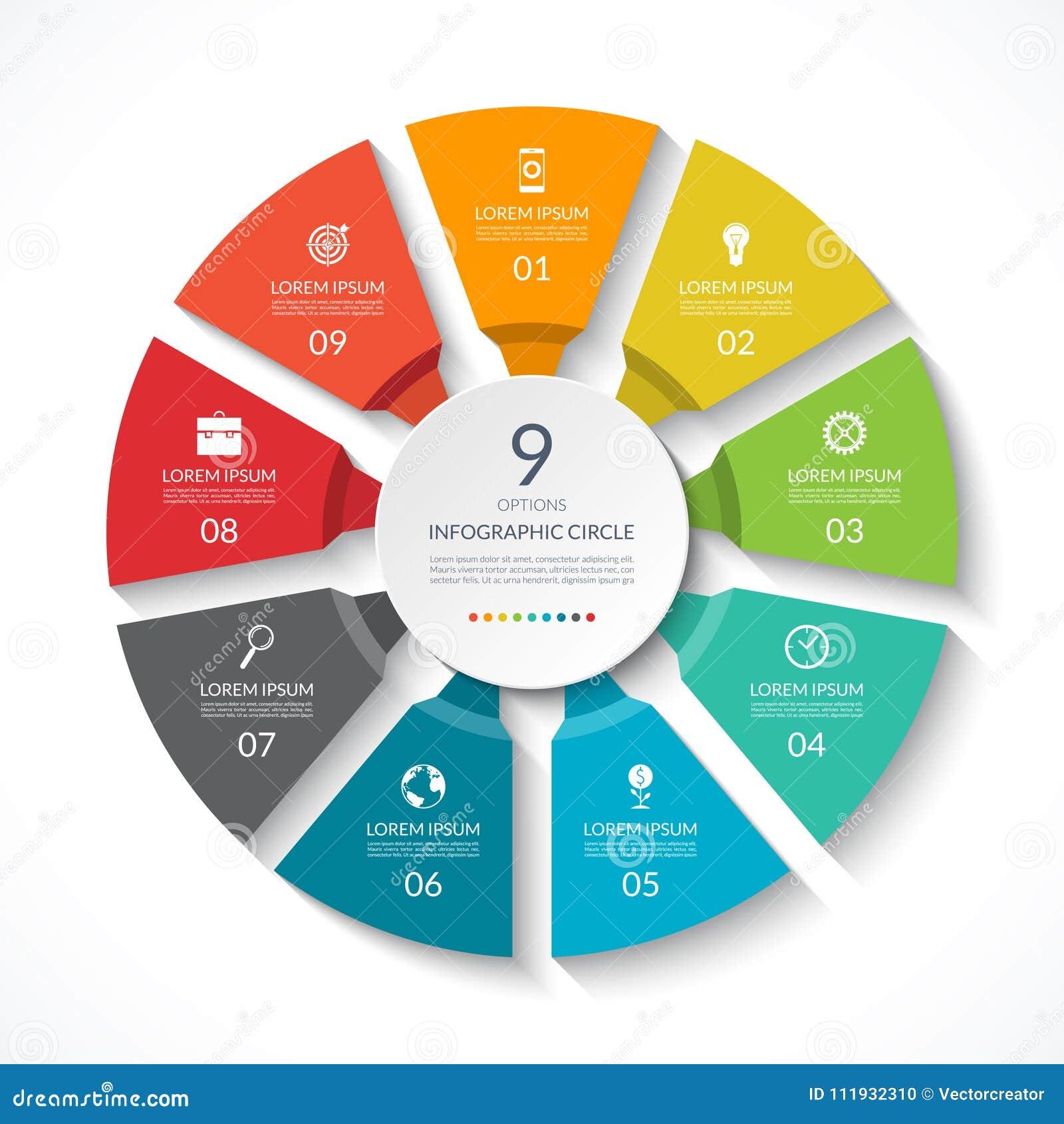 Cercle d Infographic Diagramme de processus Diagramme de vecteur avec 9 options