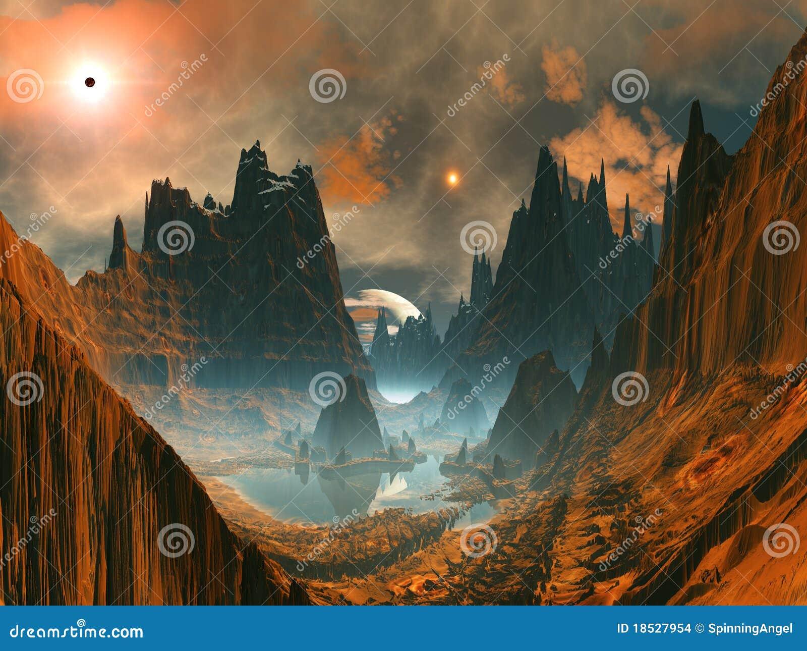 Cercle en pierre étranger en vallée de montagne