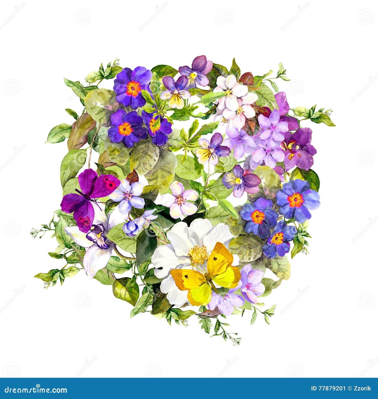 Cercle floral - herbe sauvage, fleurs, papillons Fond d aquarelle