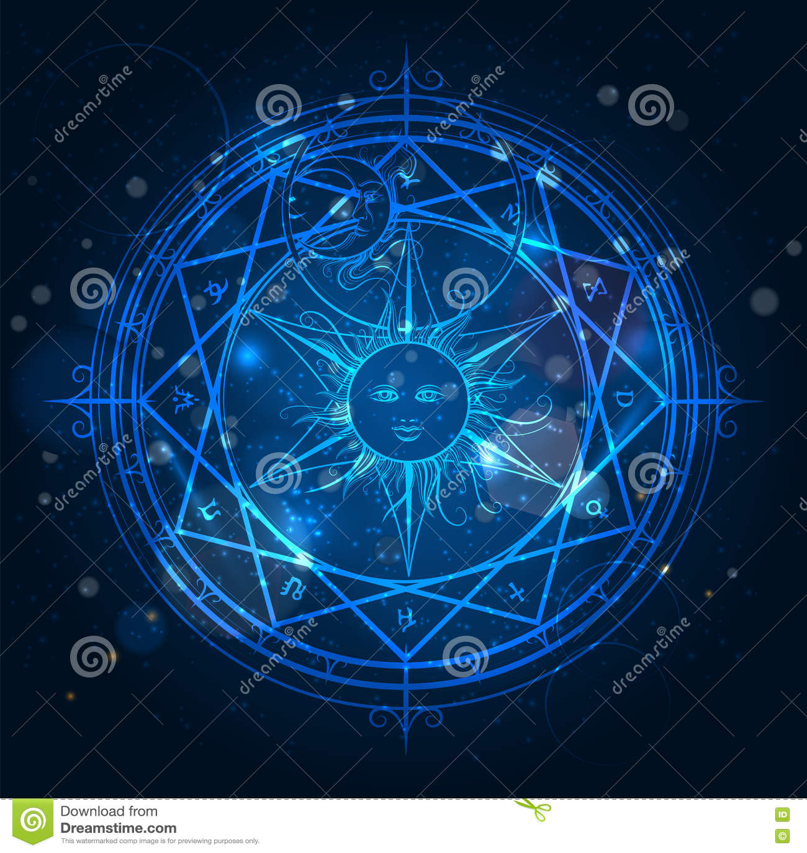 Top Cercle Magique D'alchimie Sur Le Fond Bleu Illustration de Vecteur  TF56