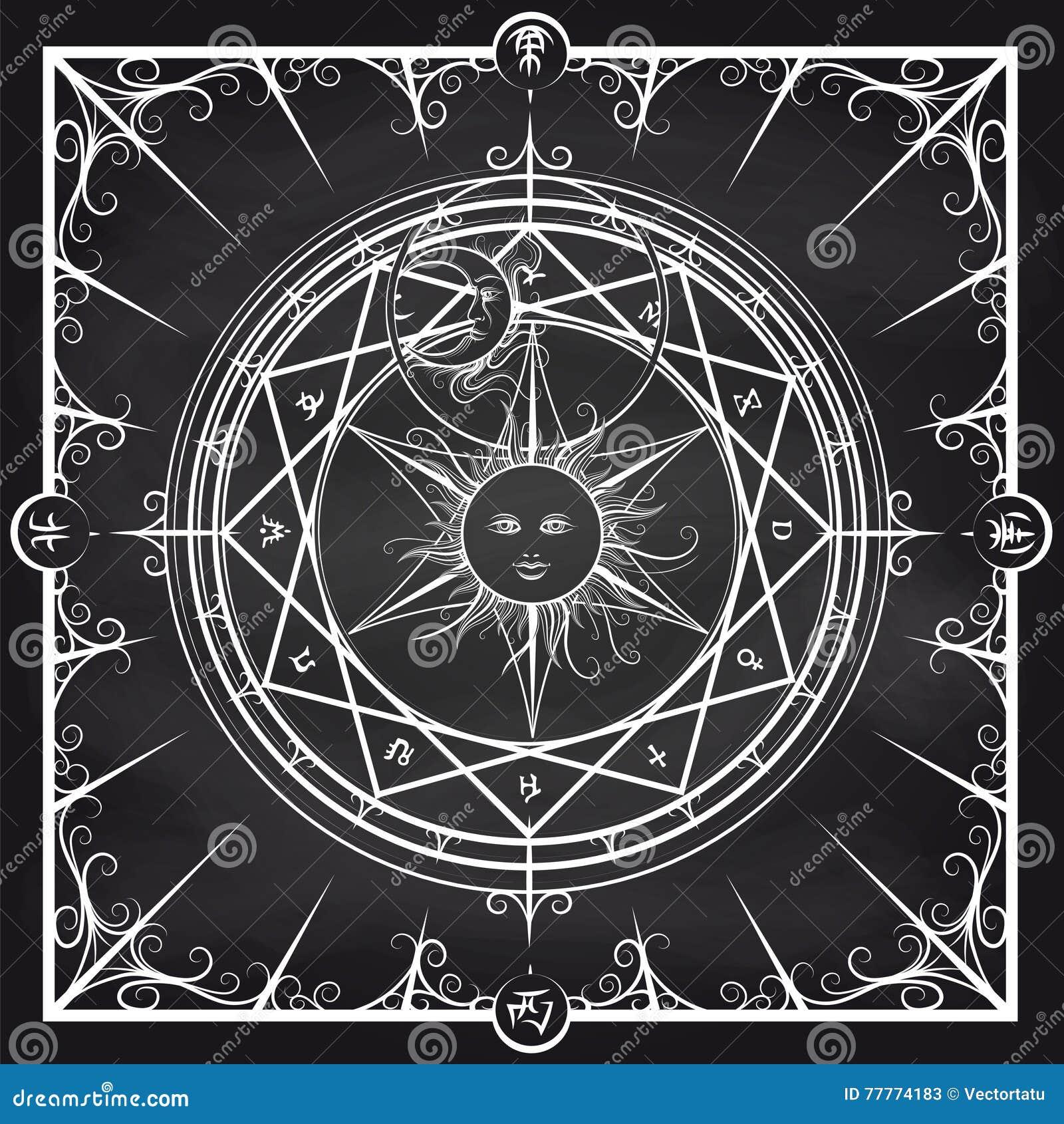Cercle magique d alchimie sur le fond de tableau