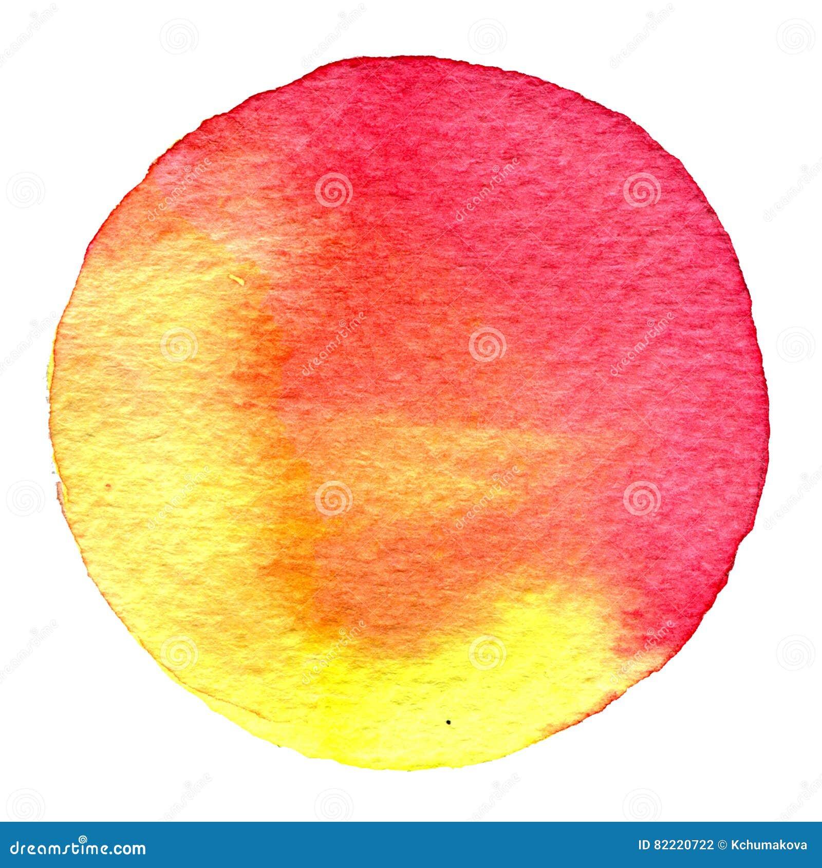 Cercle rouge d aquarelle Tache avec la texture de papier Élément de conception d isolement sur le fond blanc Calibre abstrait tir