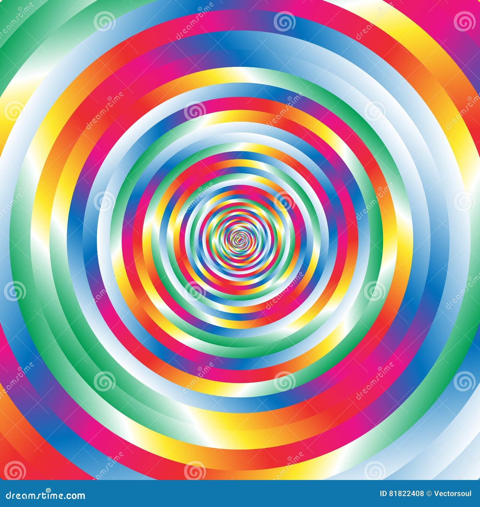 Cercles aléatoires colorés concentriques de la spirale W Circulaire abstraite p