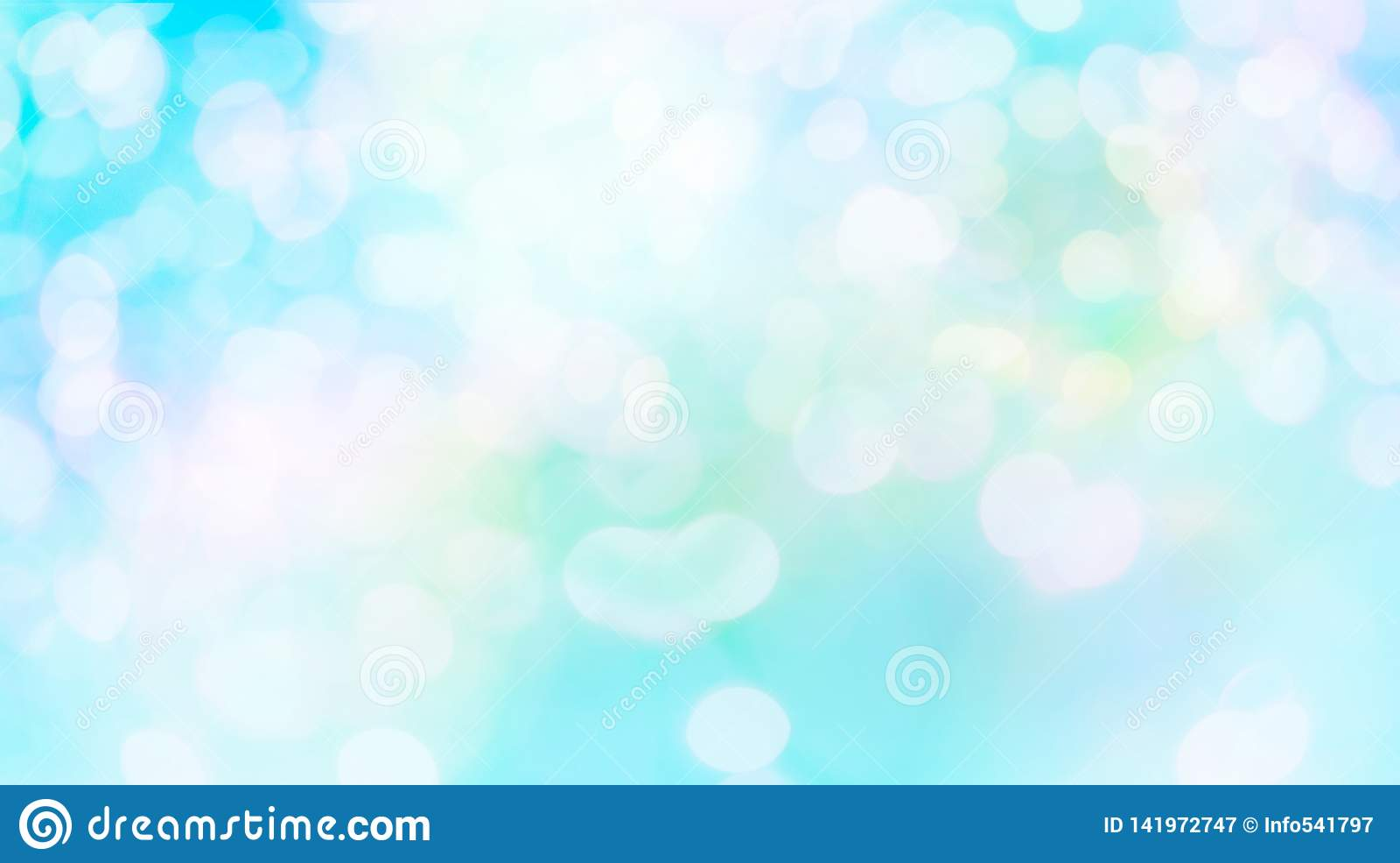 Cercles blancs de bokeh de tache floue de résumé à l arrière-plan bleu