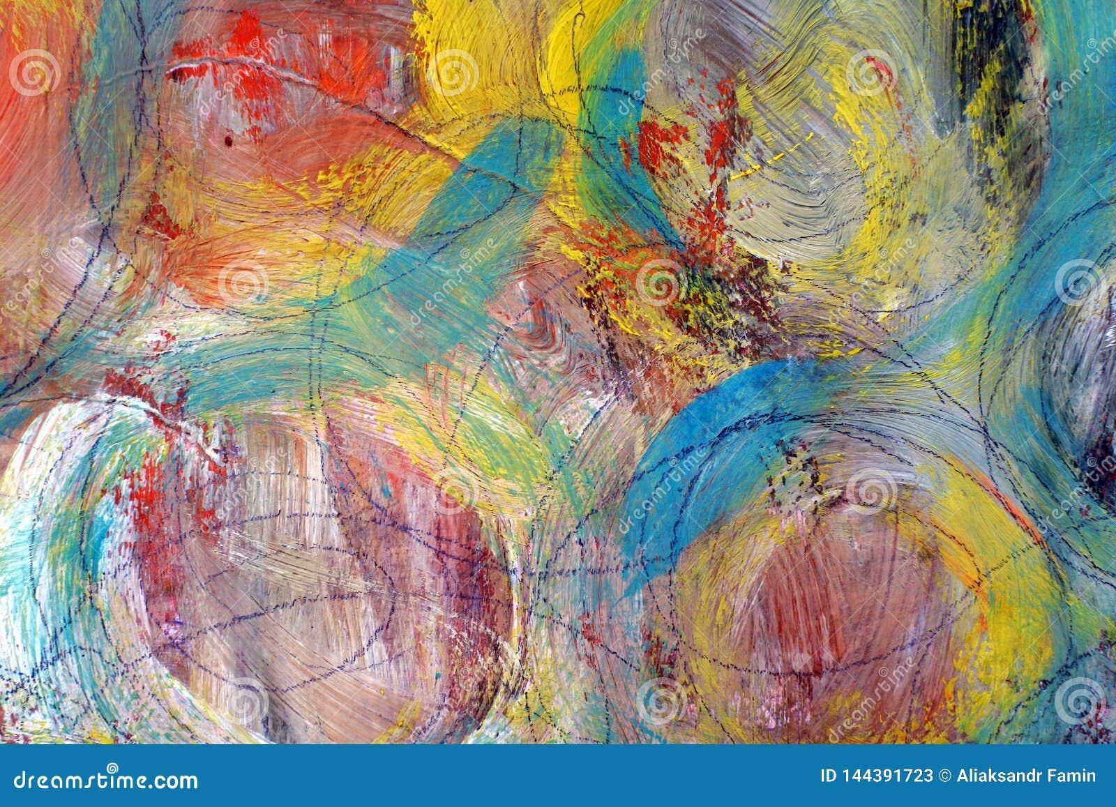 Cercles colorés Les courses de la peinture Fond lumineux coloré