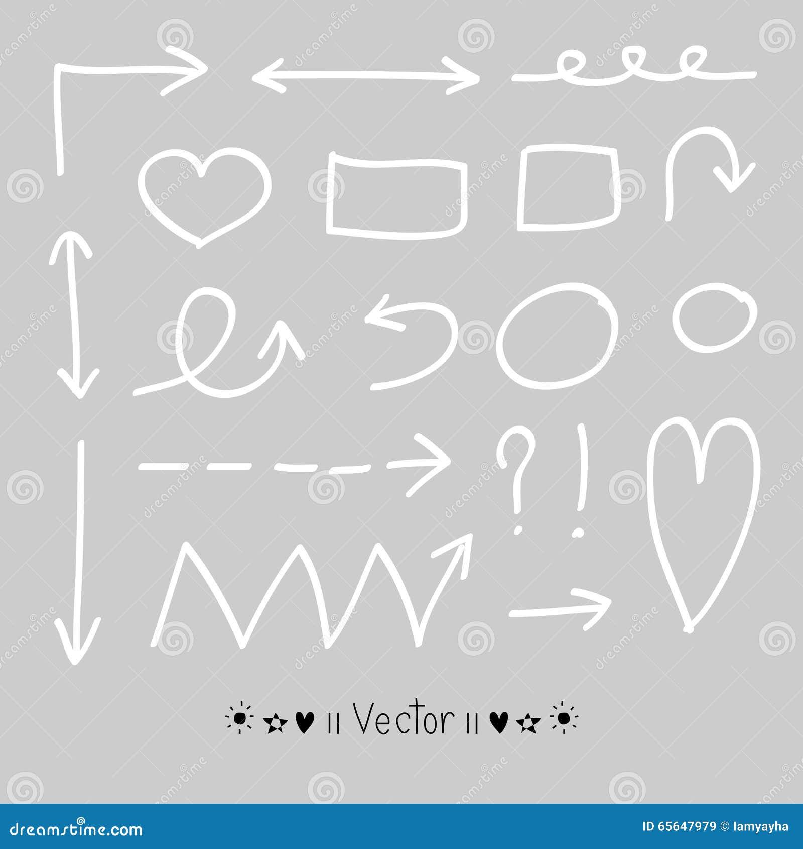 Cercles de flèches et ensemble abstrait de vecteur de conception d écriture de griffonnage