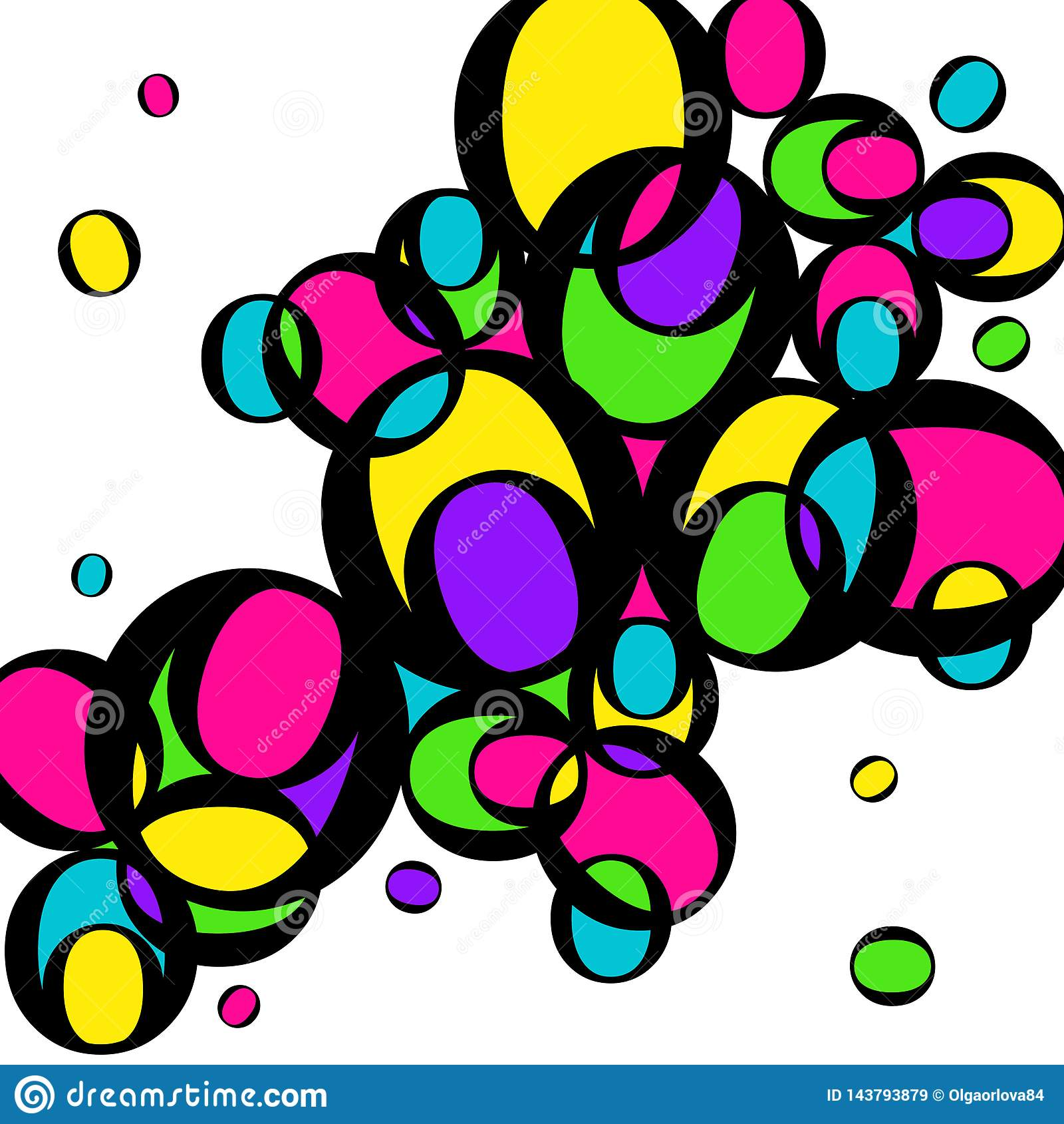 Cercles multicolores lumineux Cercles jaunes, verts, roses