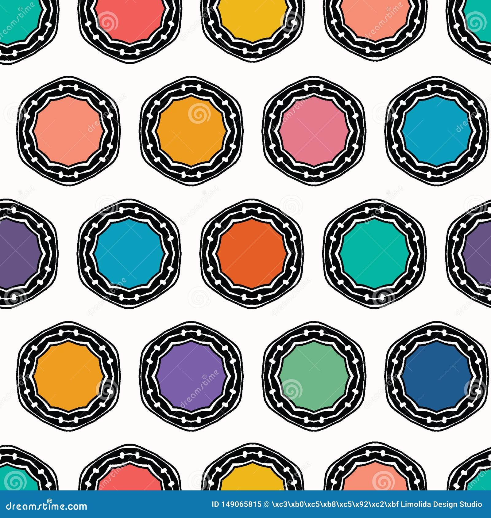 Cercles pointill?s de coupe organique abstraite Fond sans couture de mod?le de vecteur Style tiré par la main de couvercle de des