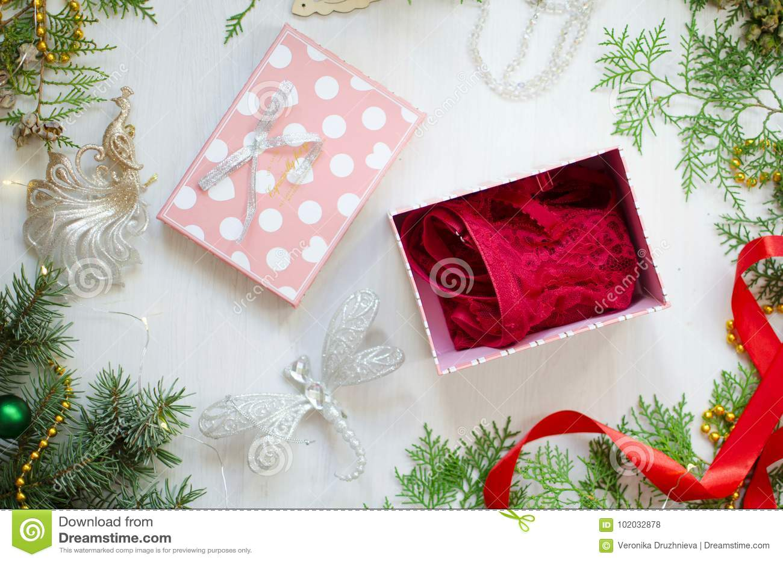 Cerda joven de la Navidad para las mujeres Ropa interior roja del cordón en el Ne decorativo
