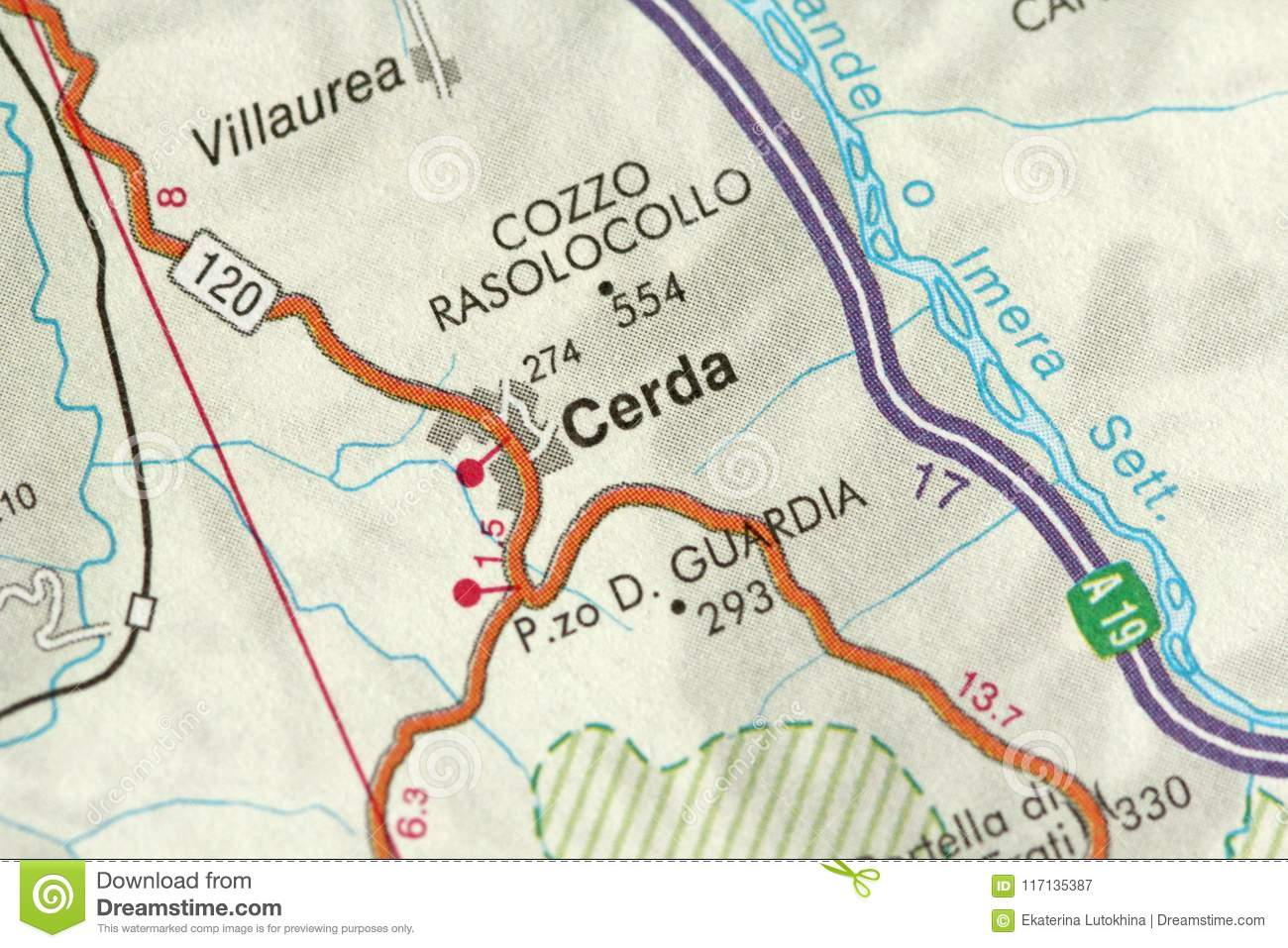 Cerda Map The Islands Of Sicily Italy Stock Image Image Of
