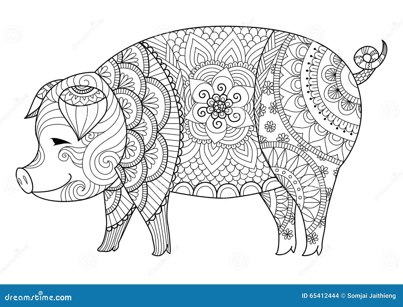 Hermosa Cerdo De Tierra Para Colorear Ilustración - Dibujos Para ...