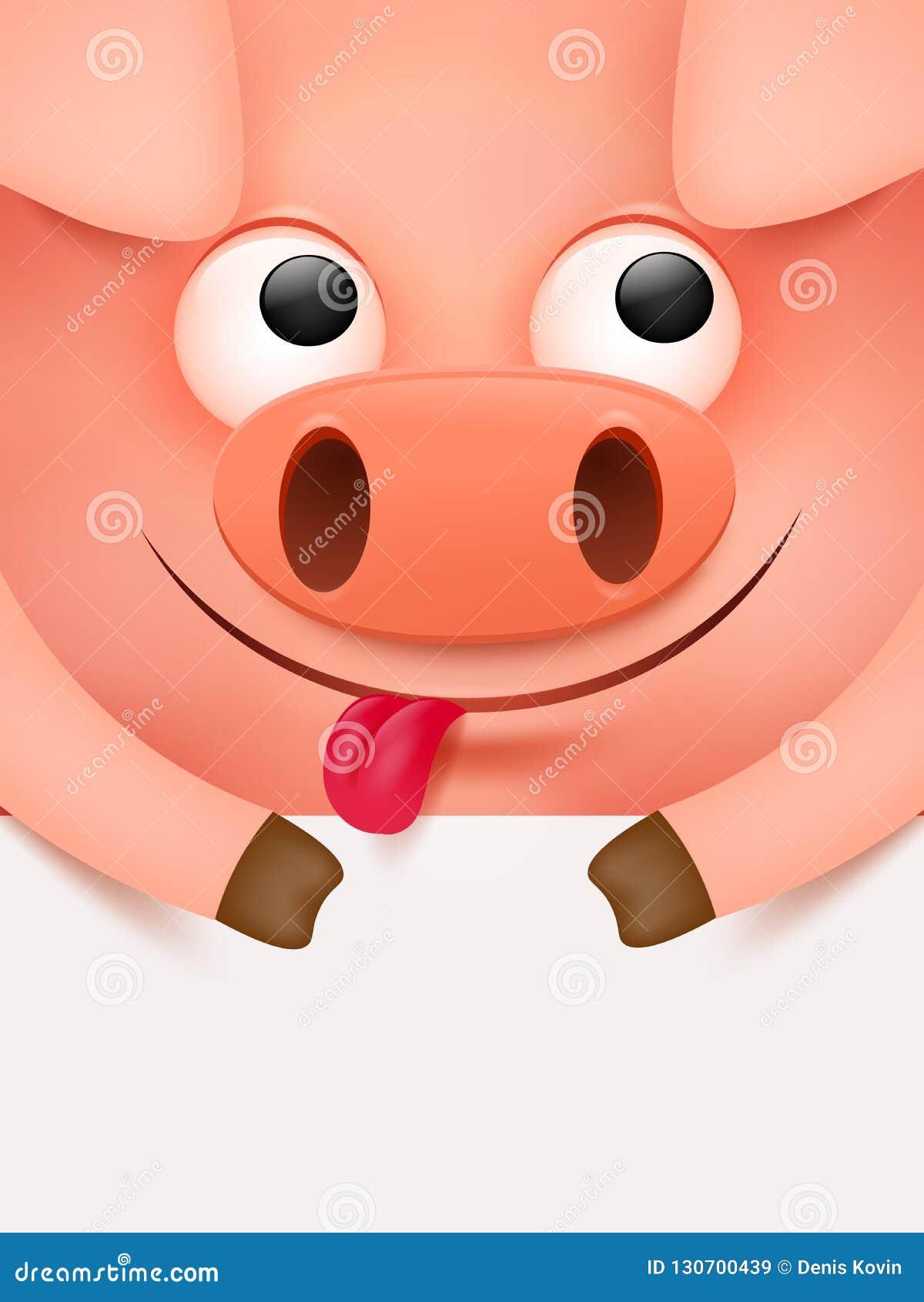 Cerdo afortunado Año Nuevo chino Plantilla de la cubierta de la tarjeta de la invitación