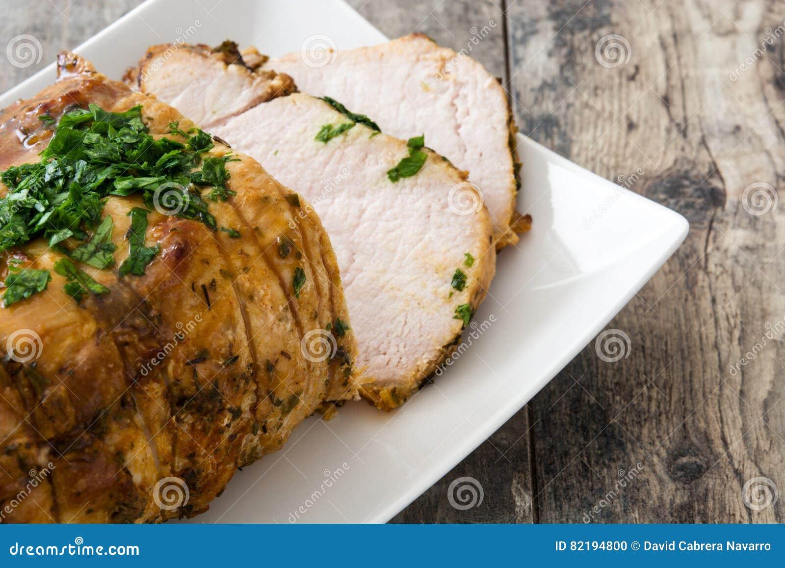 Cerdo asado en placa