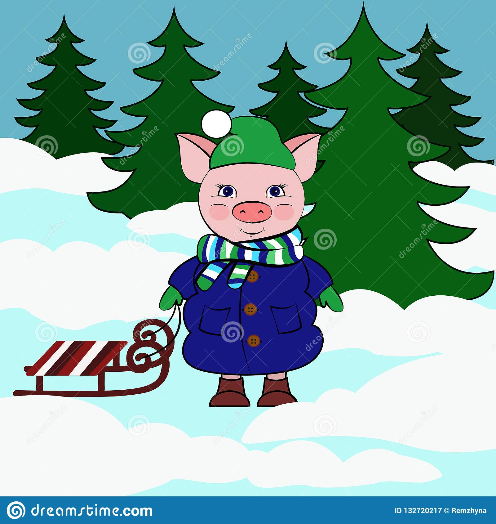 Cerdo con el trineo en tu bosque nevoso