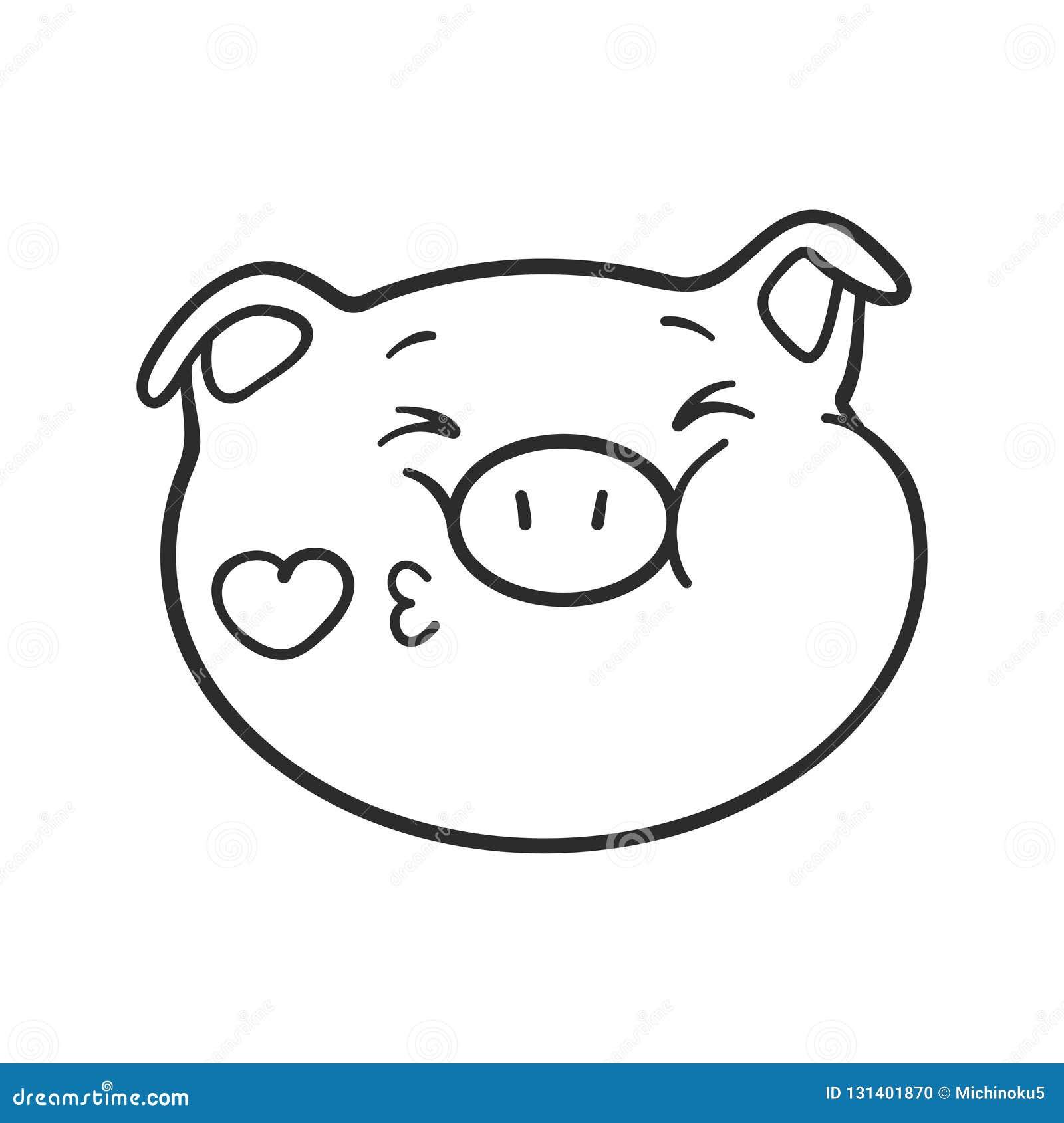 Cerdo De Emoji Para El Libro De Colorear Ilustración Del Vector