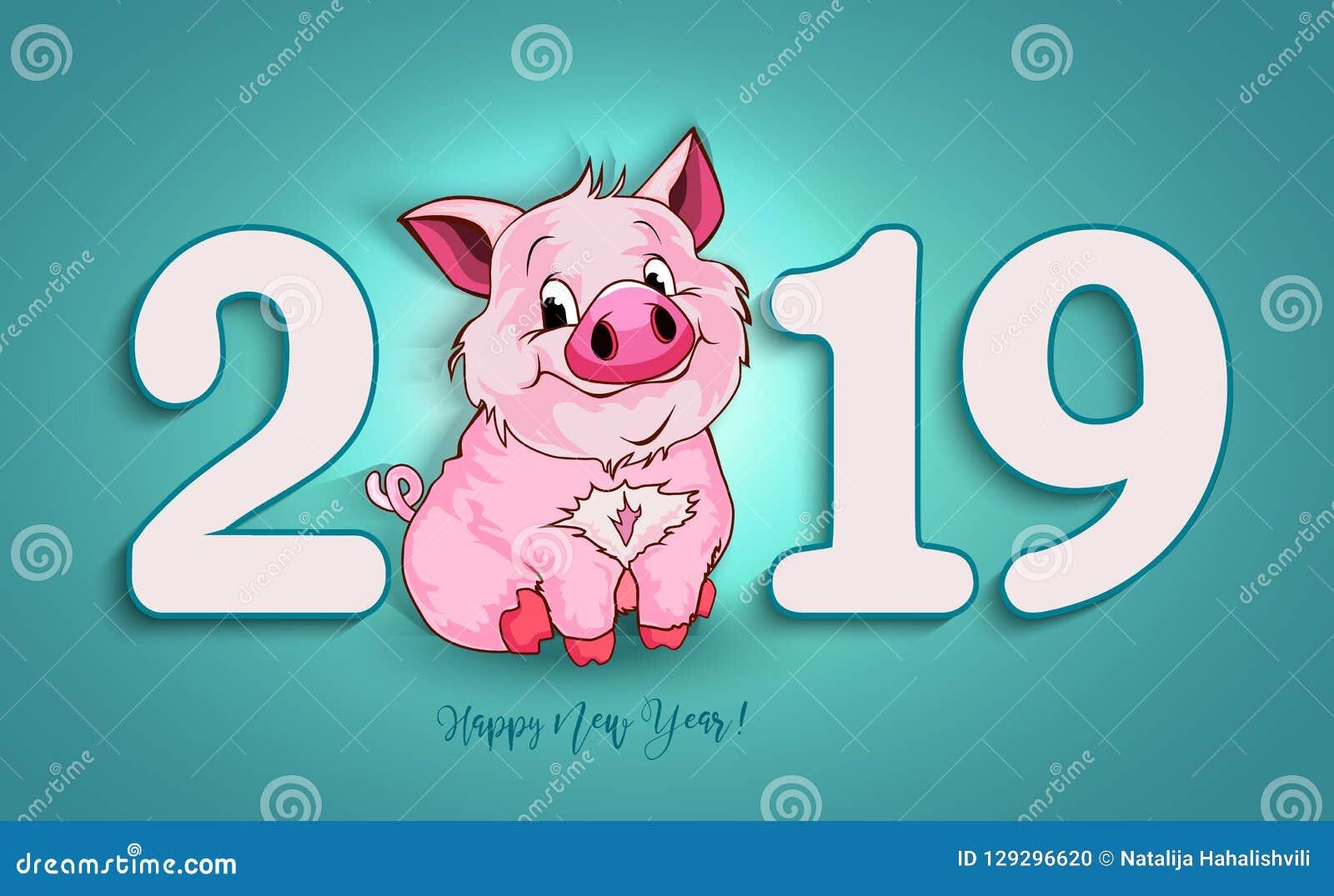 Cerdo divertido lindo Feliz Año Nuevo Símbolo chino de los 2019 años
