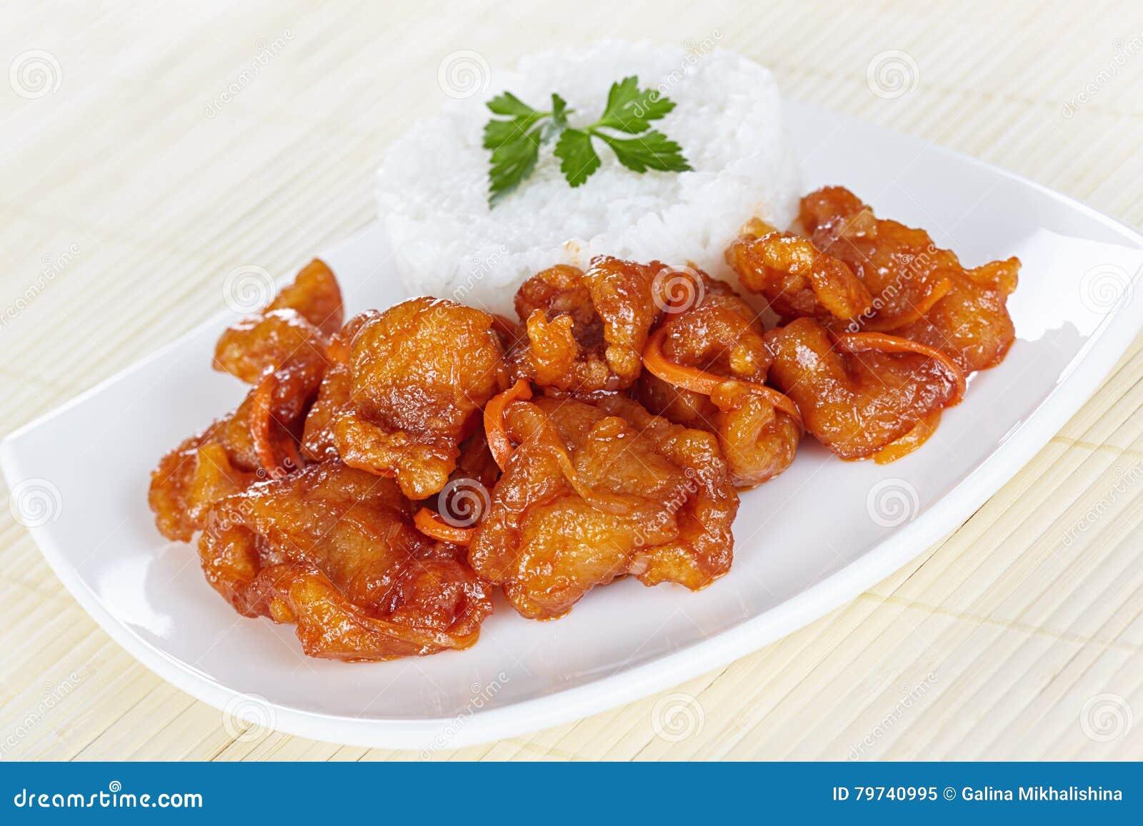 Cerdo en salsa agridulce