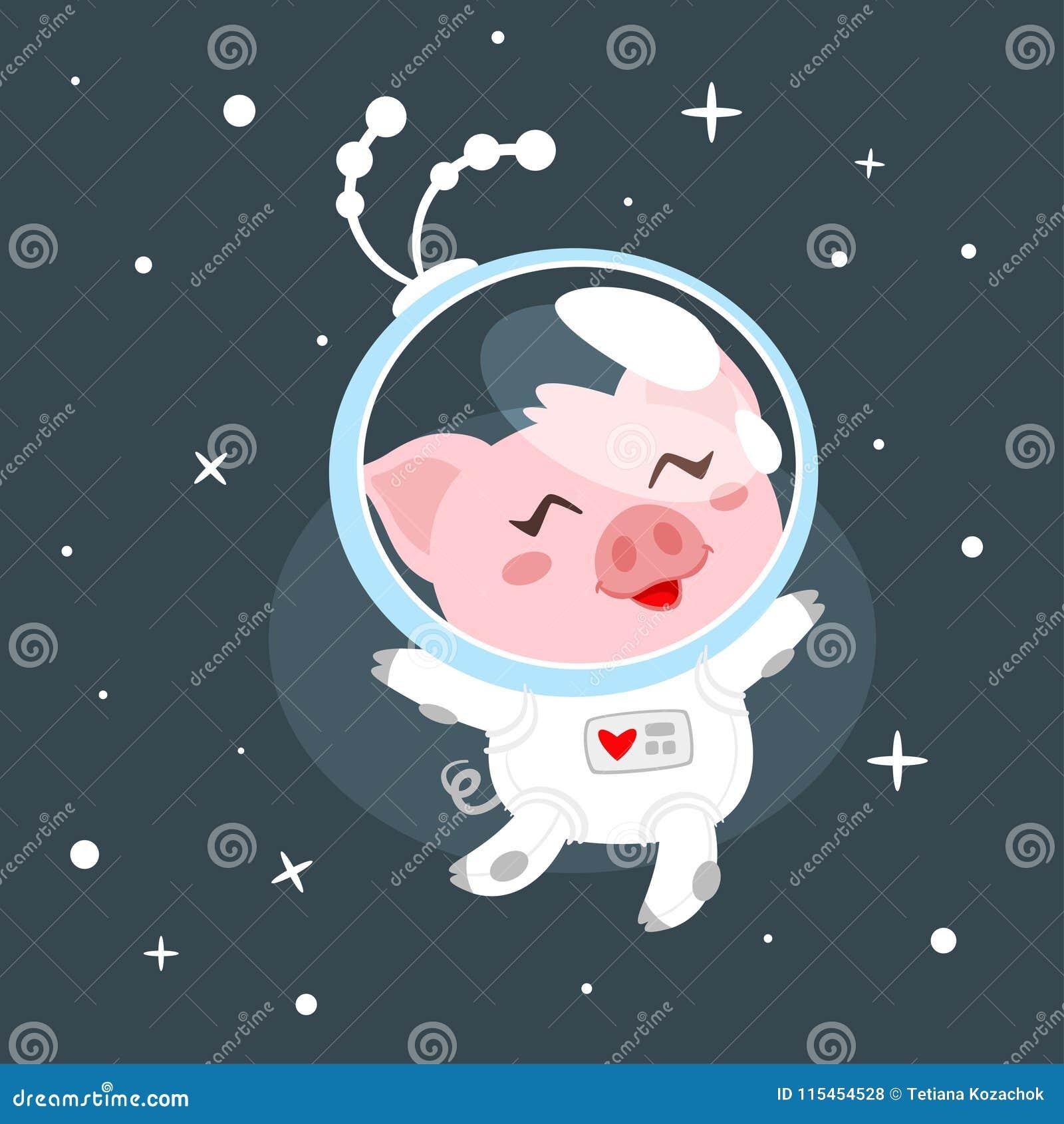 Cerdo en traje de espacio