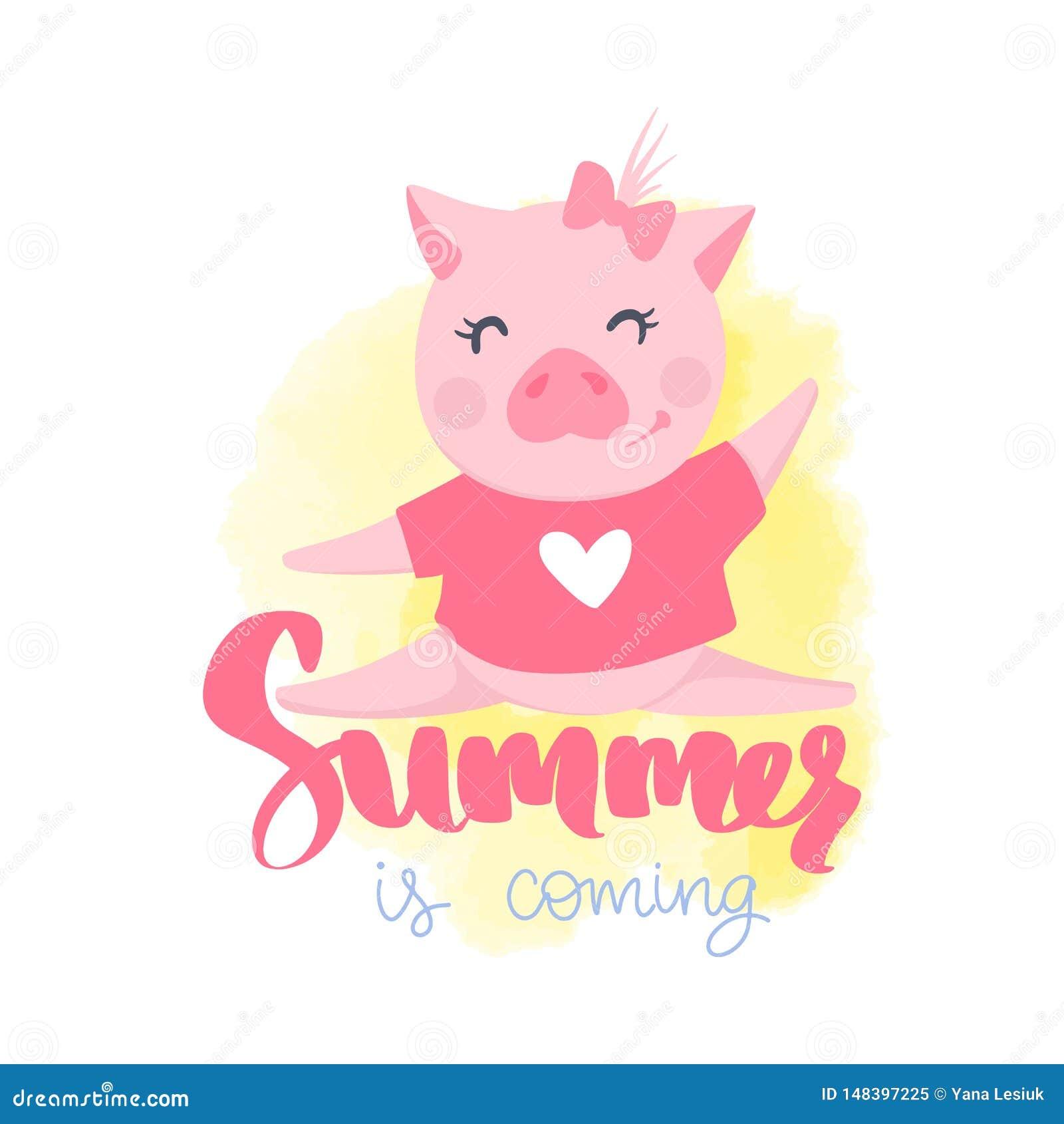 Cerdo lindo del vector Ejemplo de la historieta con el animal divertido
