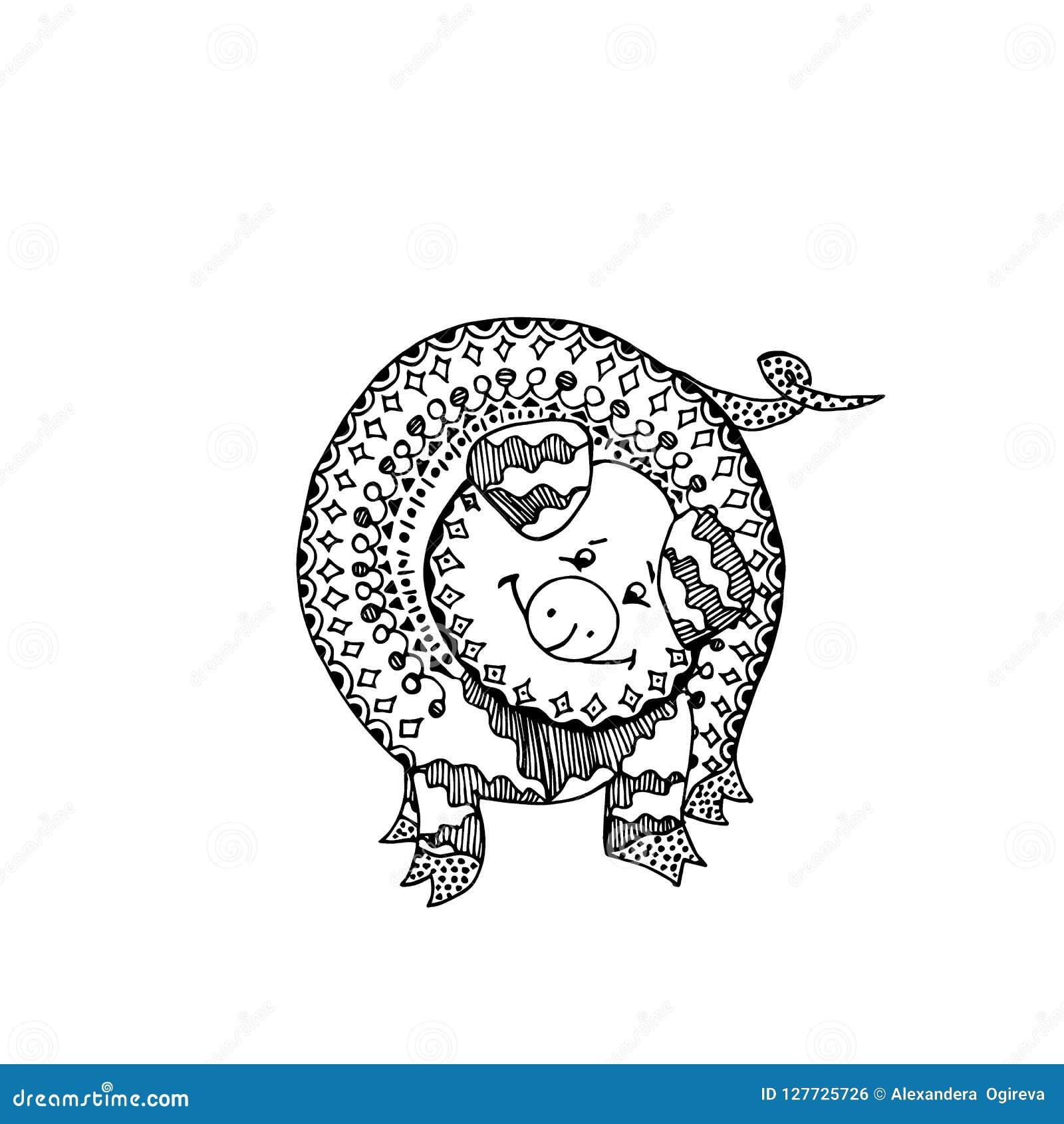Cerdo o verraco para el libro de colorear Ornamento del garabato Ejemplo del vector con el cerdo salvaje ornamental