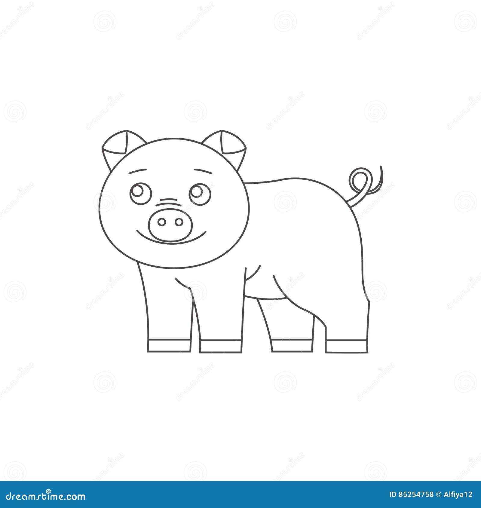 Cerdo Para El Libro De Colorear Ilustración del Vector - Ilustración ...