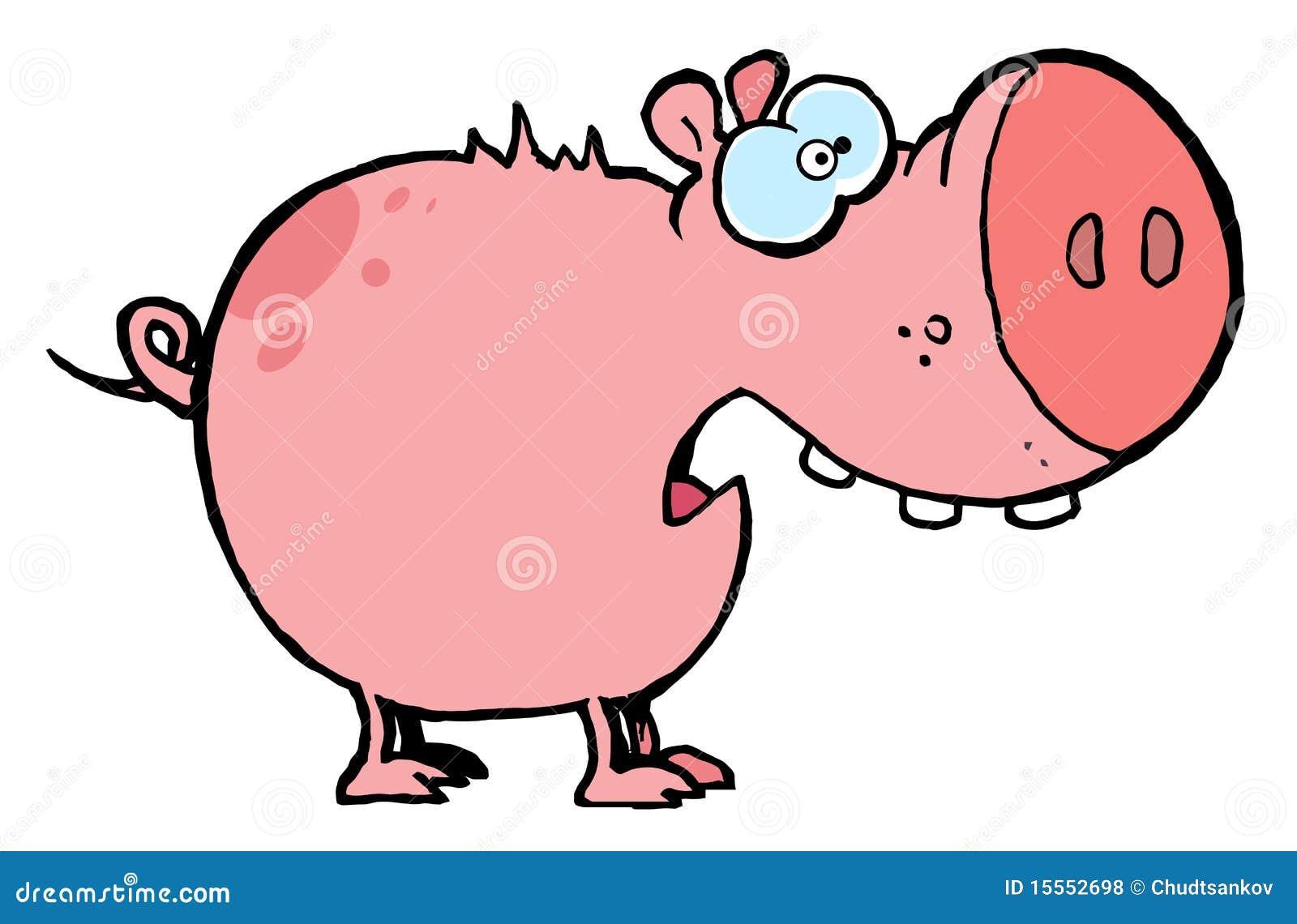 Cerdo rosado asustado