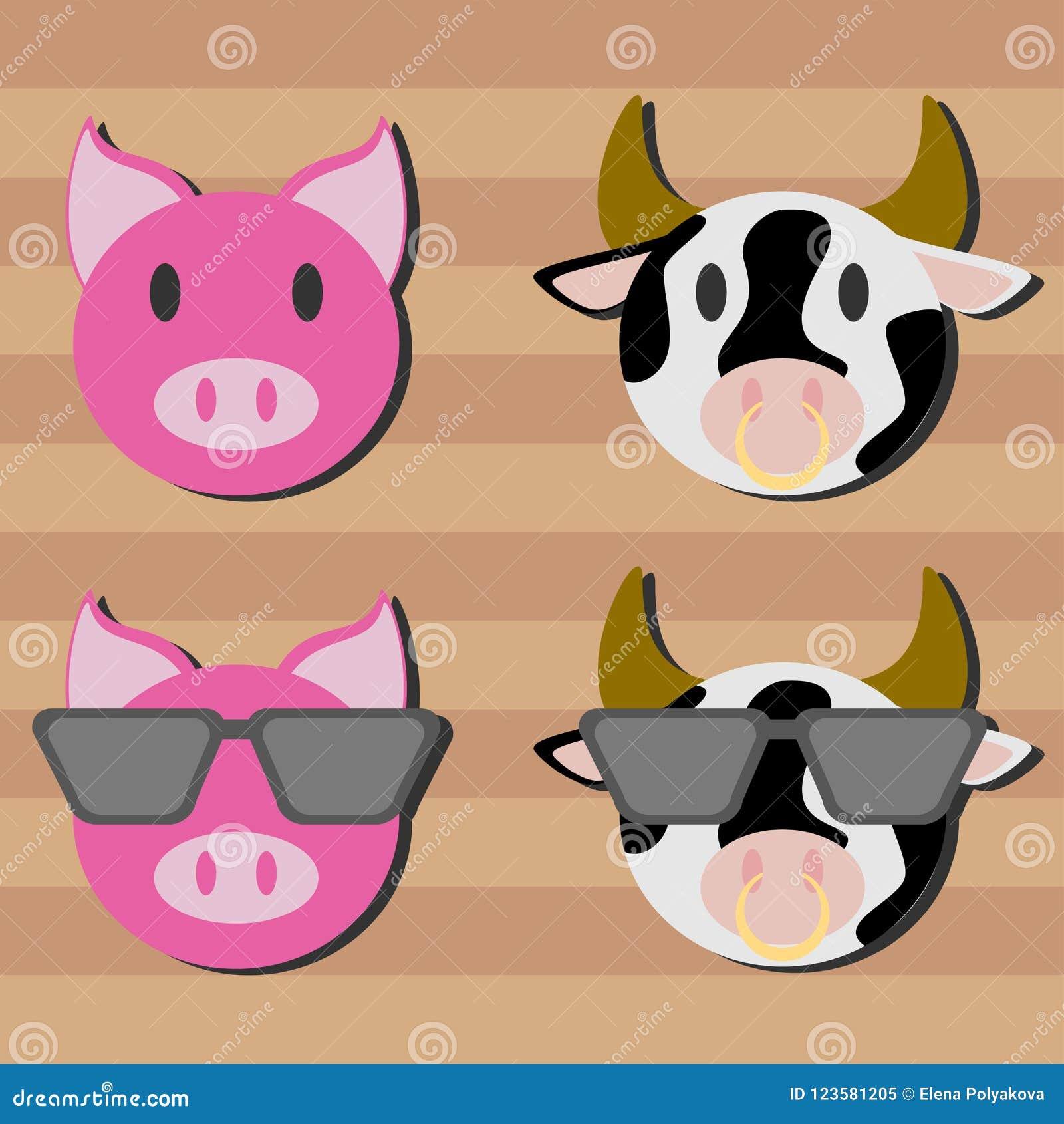 29f6bf91e1 Cerdo plano de papel y vaca manchada en gafas de sol grandes a bordo fondo